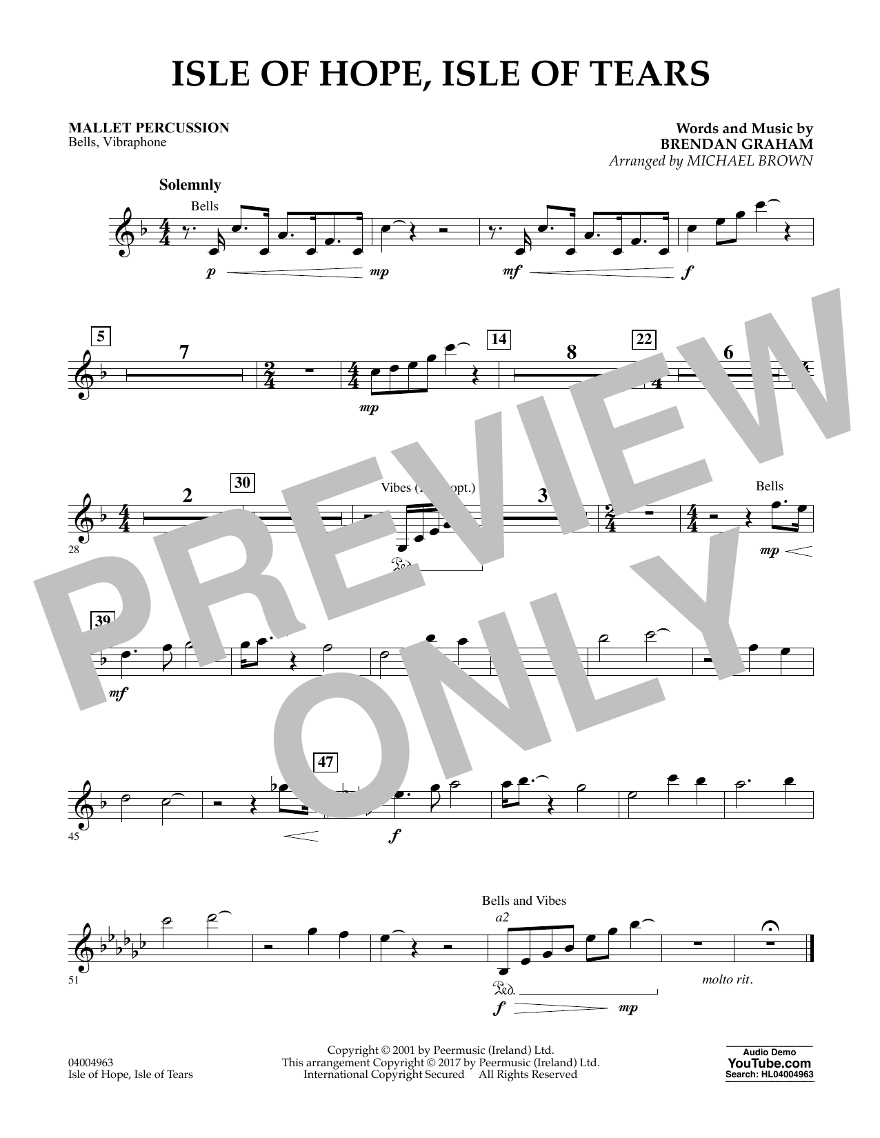Isle of Hope, Isle of Tears - Mallet Percussion Sheet Music