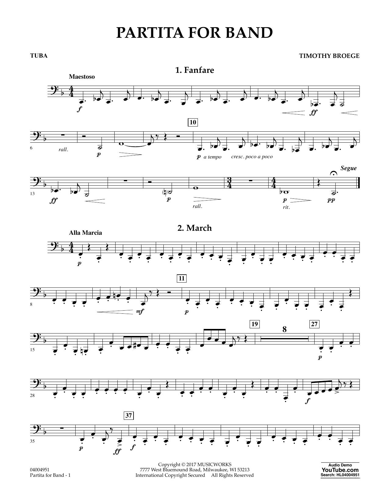 Partita for Band - Tuba Sheet Music