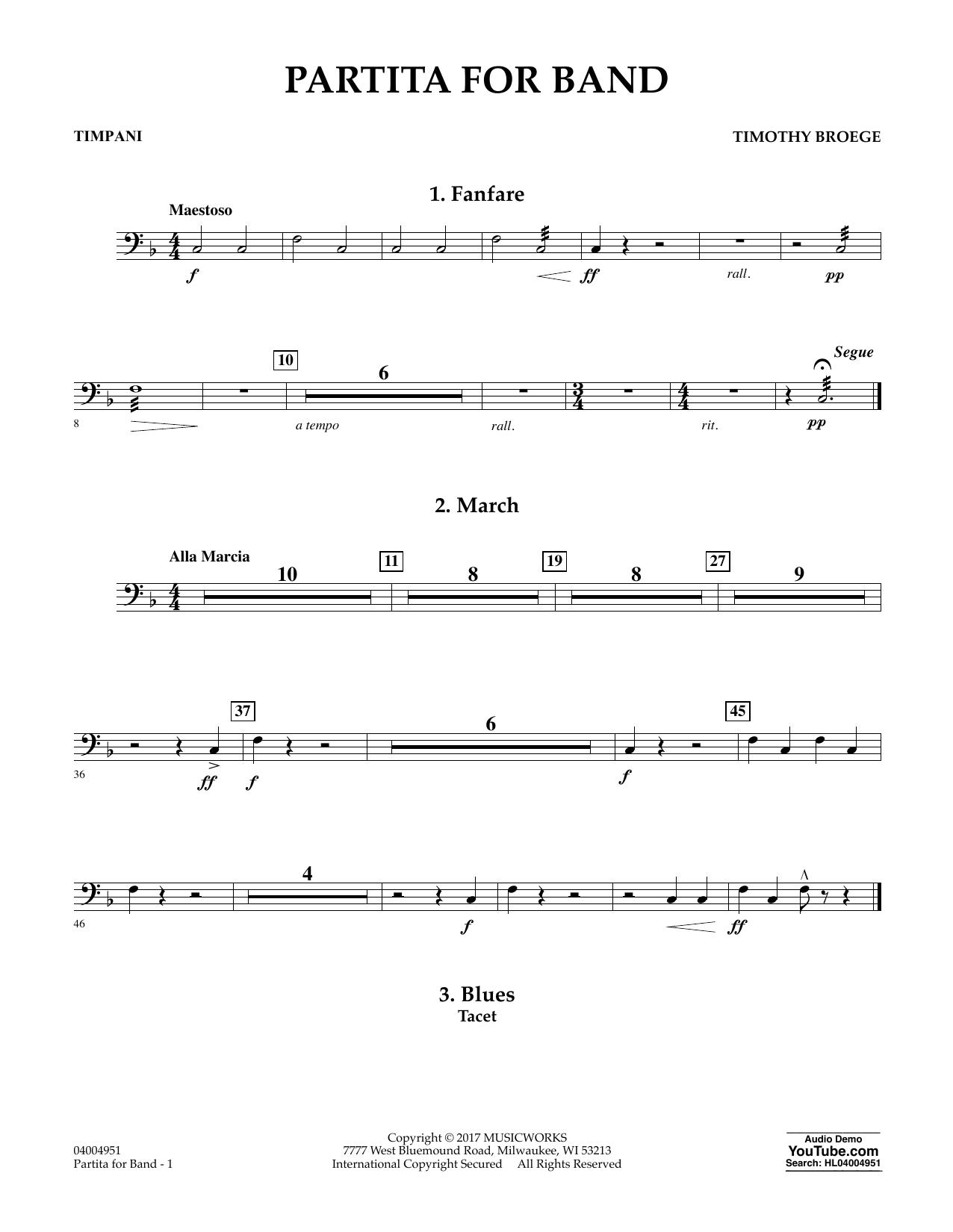 Partita for Band - Timpani Sheet Music