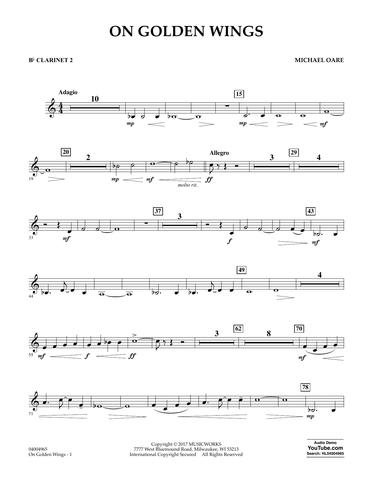 On Golden Wings - Bb Clarinet 2 Sheet Music