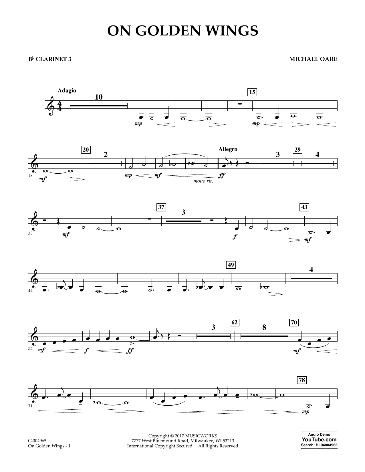 On Golden Wings - Bb Clarinet 3 Sheet Music