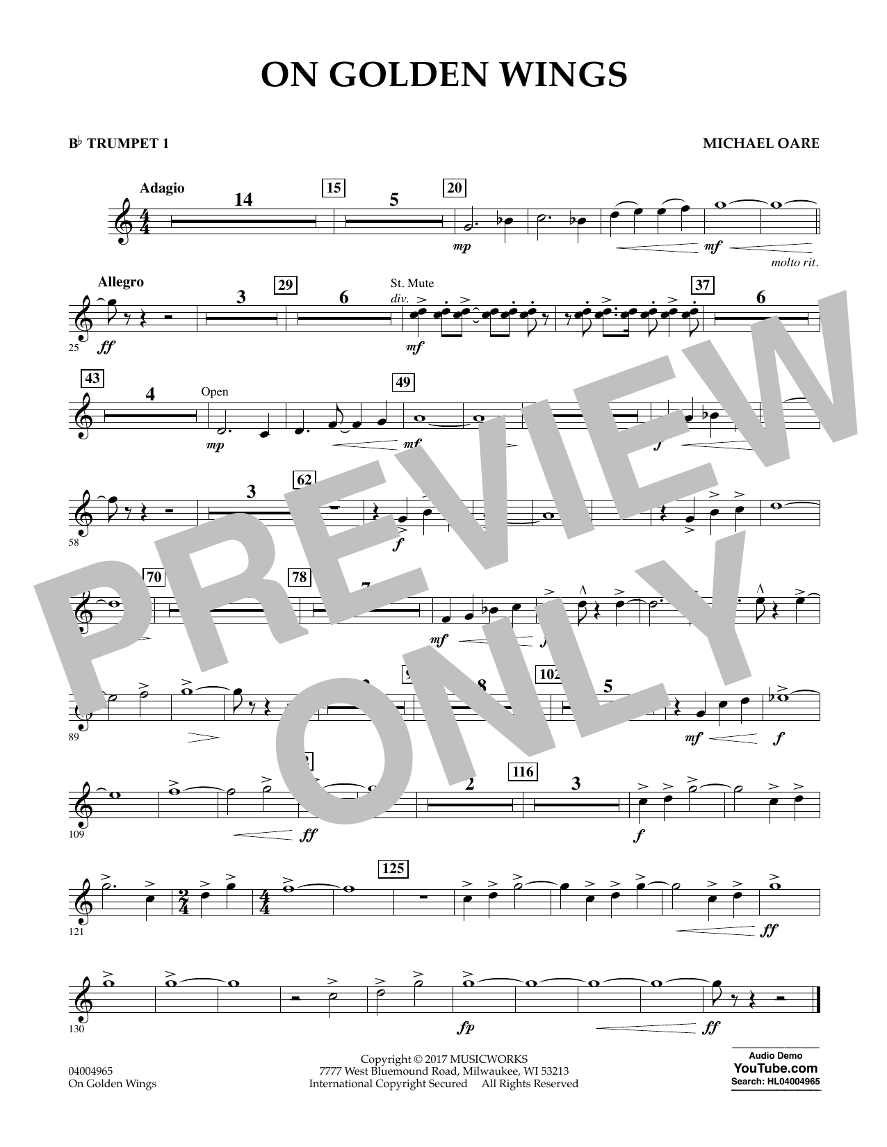 On Golden Wings - Bb Trumpet 1 Sheet Music