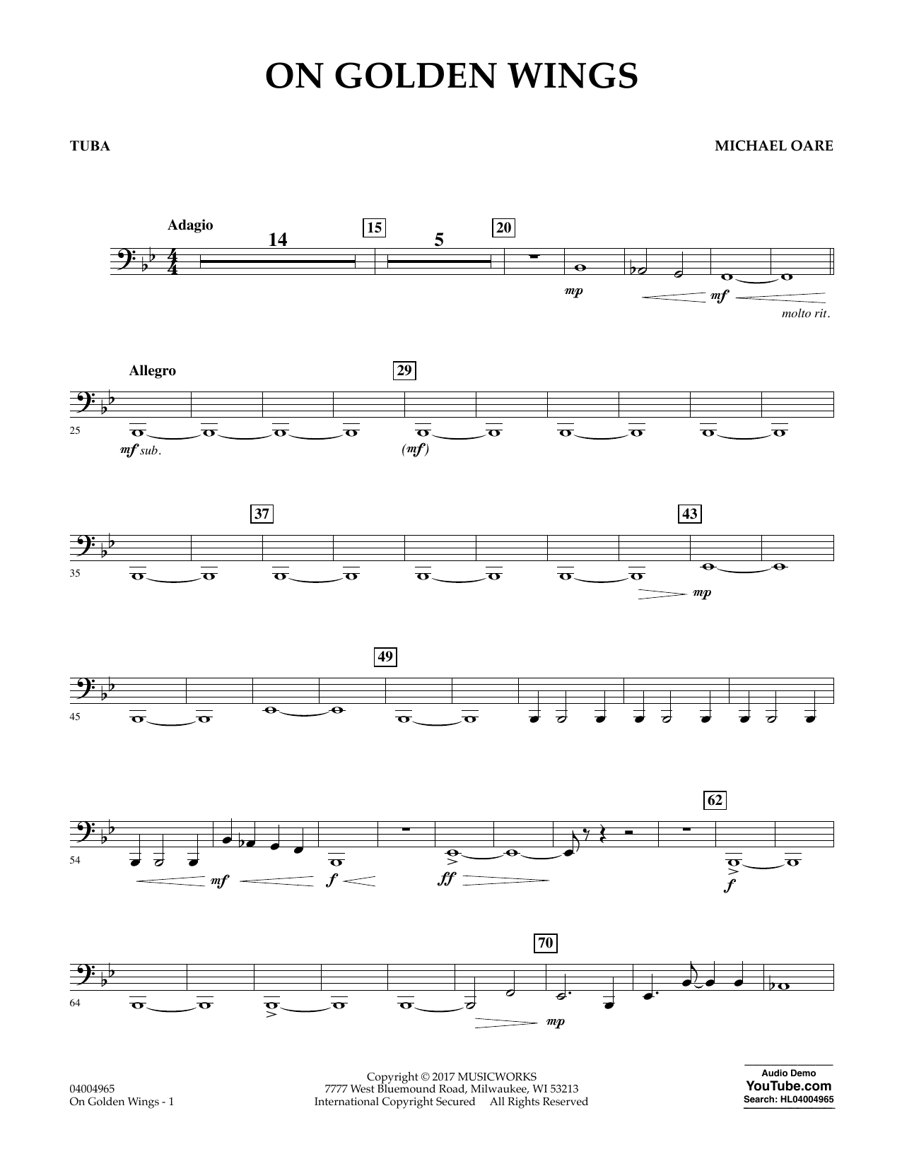 On Golden Wings - Tuba Sheet Music