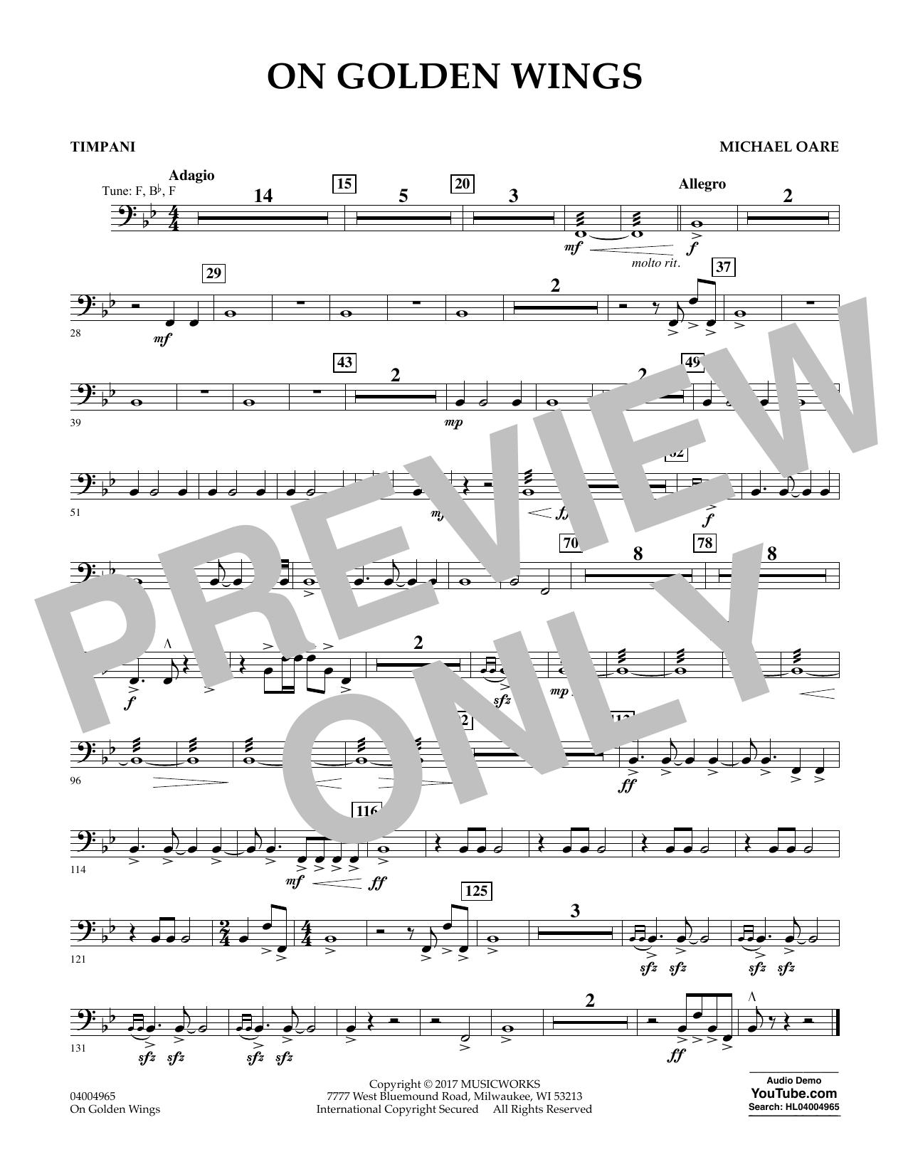 On Golden Wings - Timpani Sheet Music