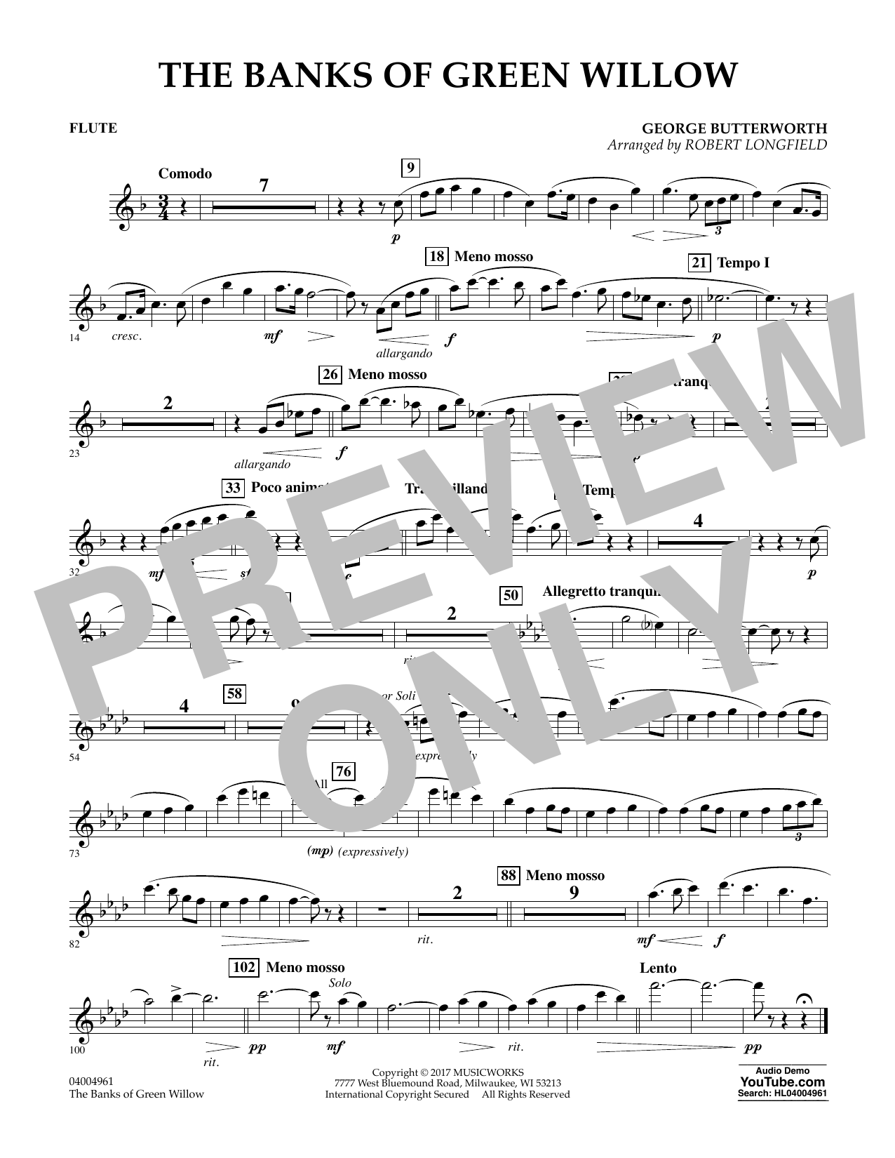 The Banks of Green Willow - Flute Sheet Music