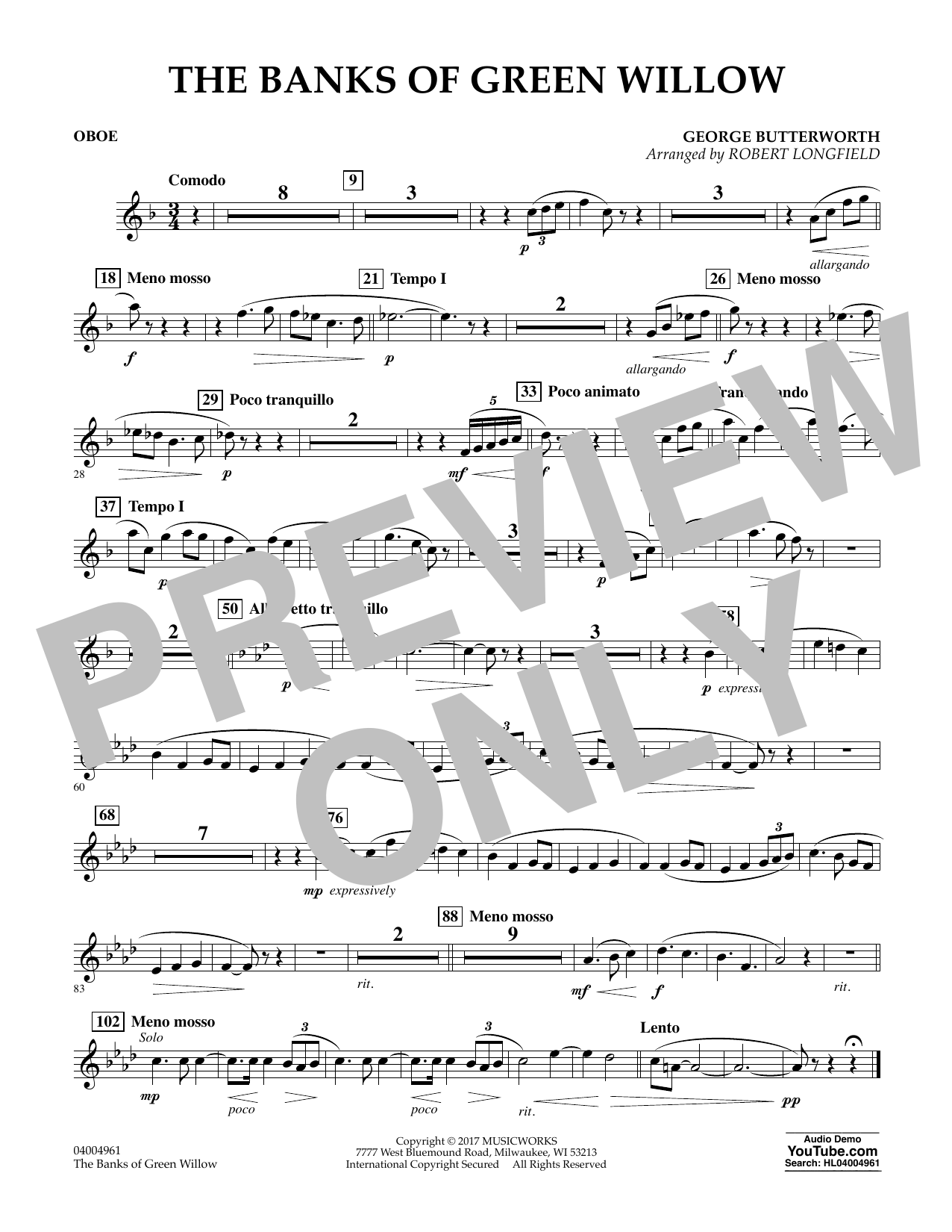 The Banks of Green Willow - Oboe Sheet Music