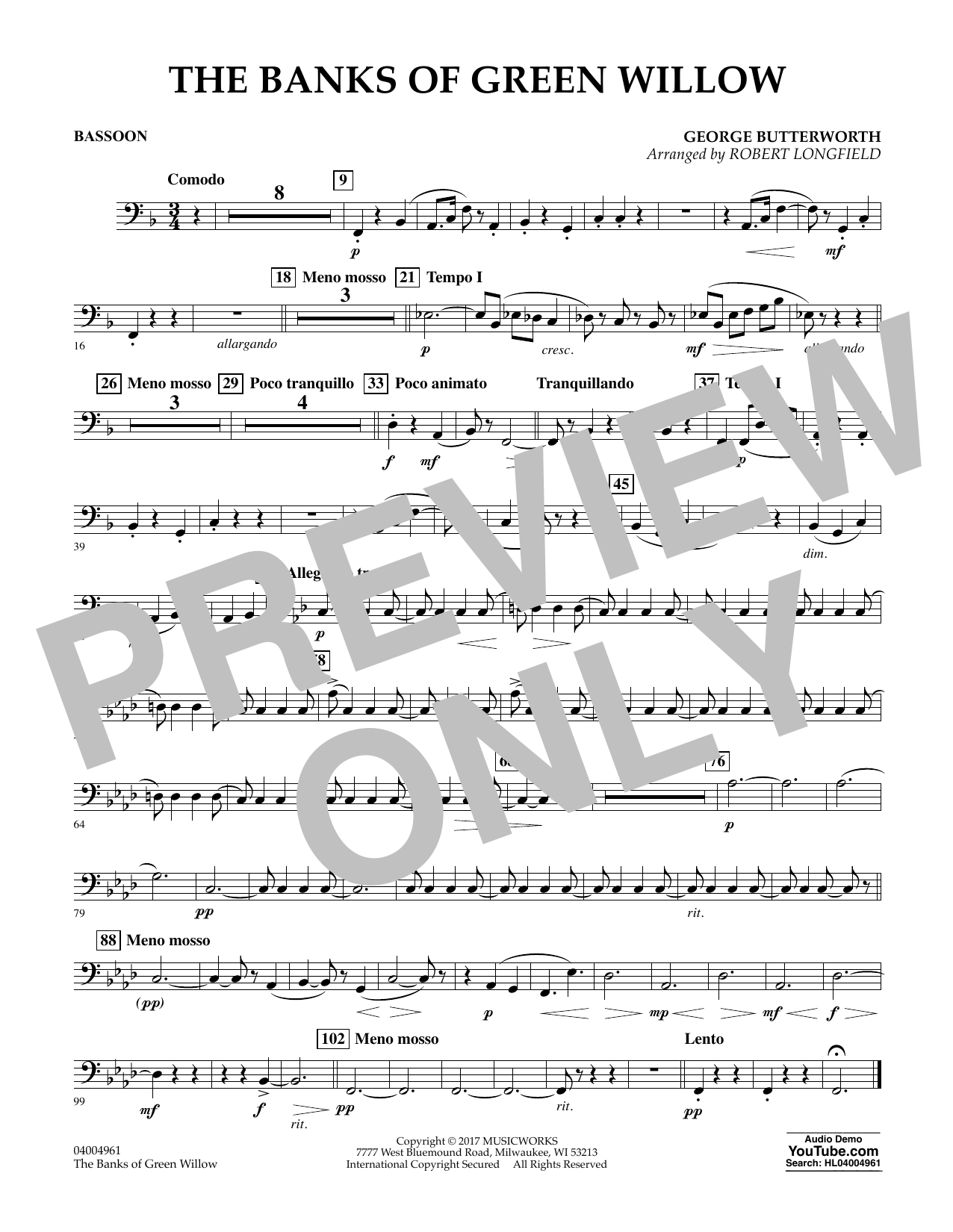 The Banks of Green Willow - Bassoon Sheet Music