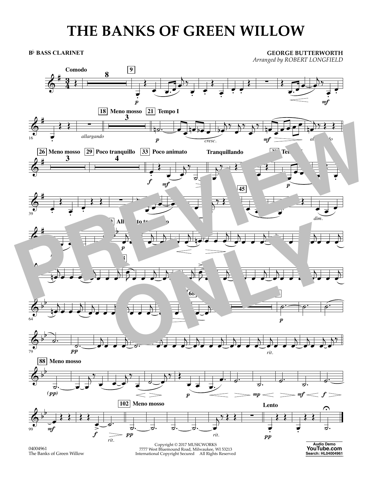 The Banks of Green Willow - Bb Bass Clarinet Sheet Music