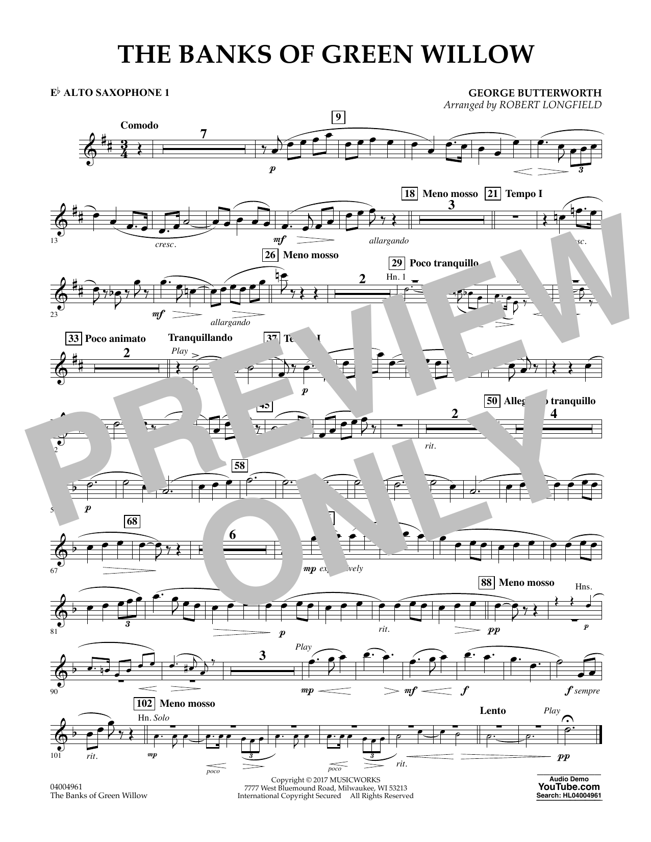 The Banks of Green Willow - Eb Alto Saxophone 1 Sheet Music