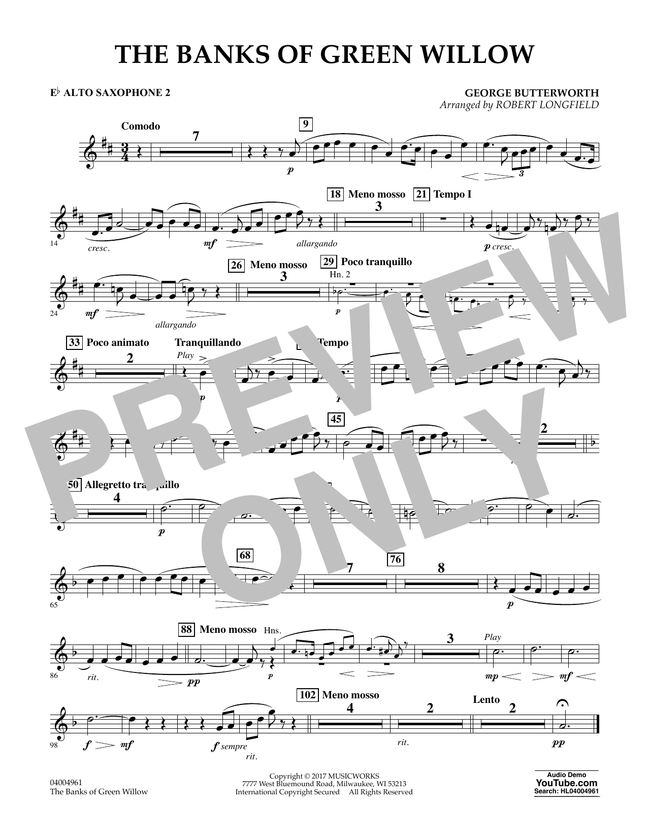 The Banks of Green Willow - Eb Alto Saxophone 2 Sheet Music
