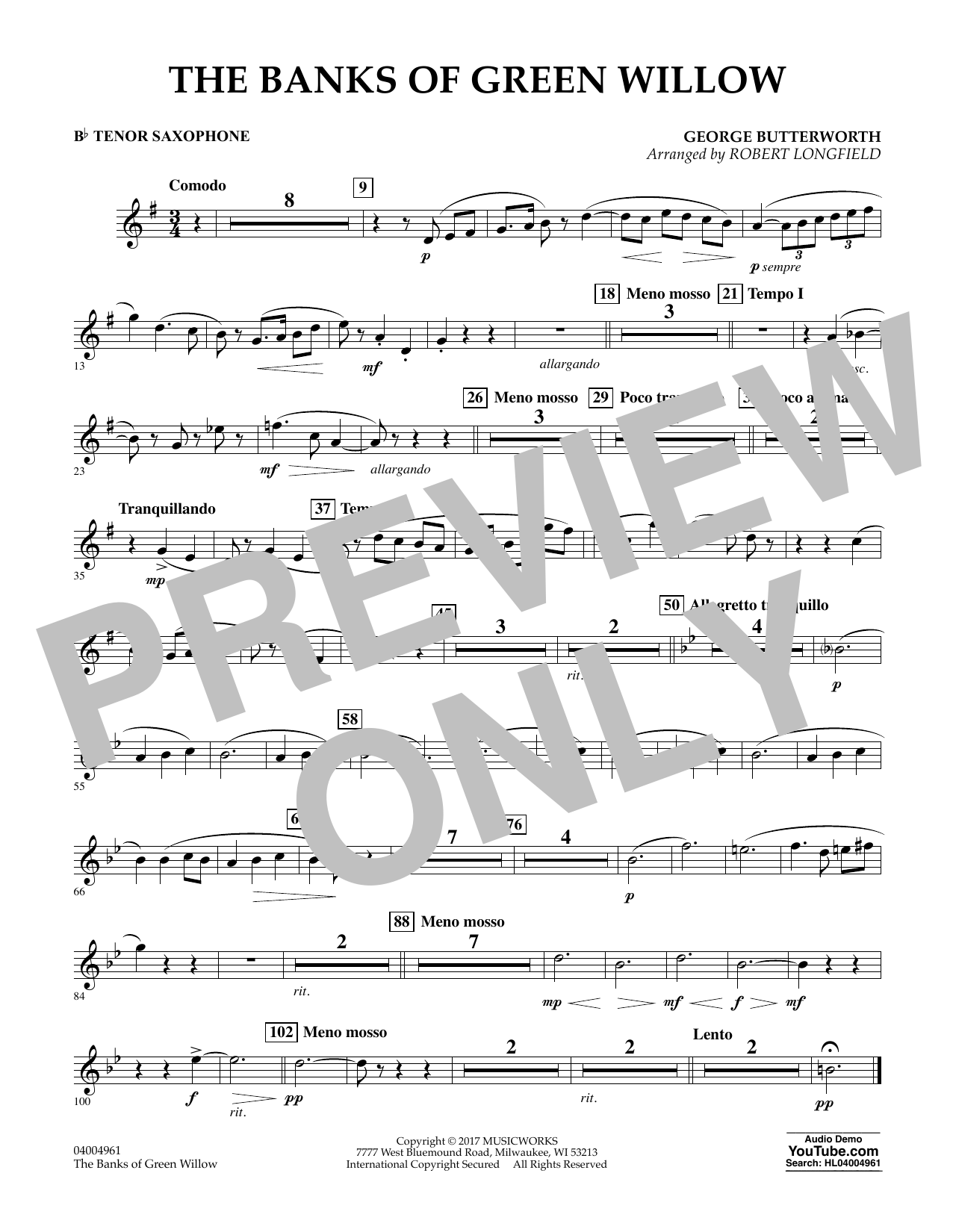 The Banks of Green Willow - Bb Tenor Saxophone Sheet Music
