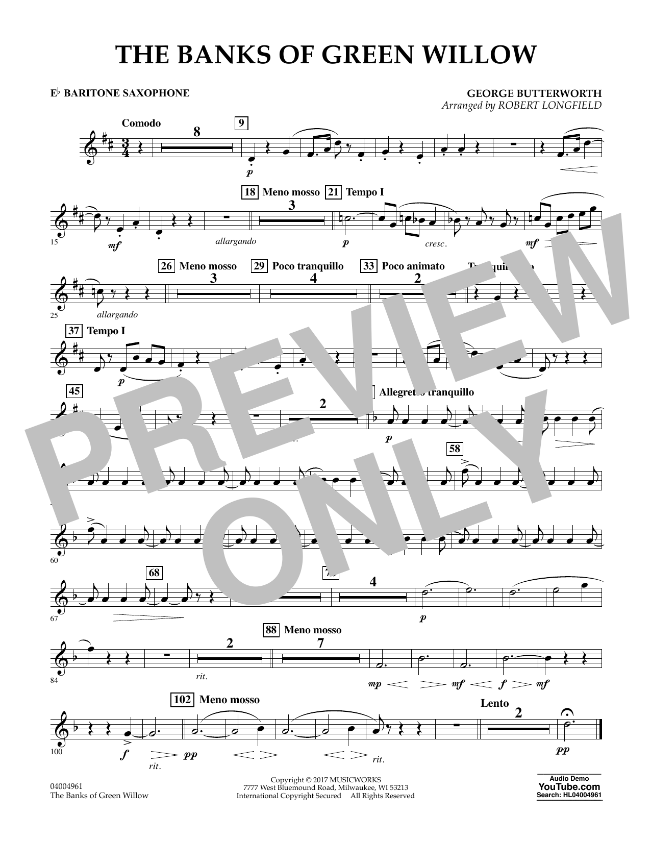 The Banks of Green Willow - Eb Baritone Saxophone Sheet Music