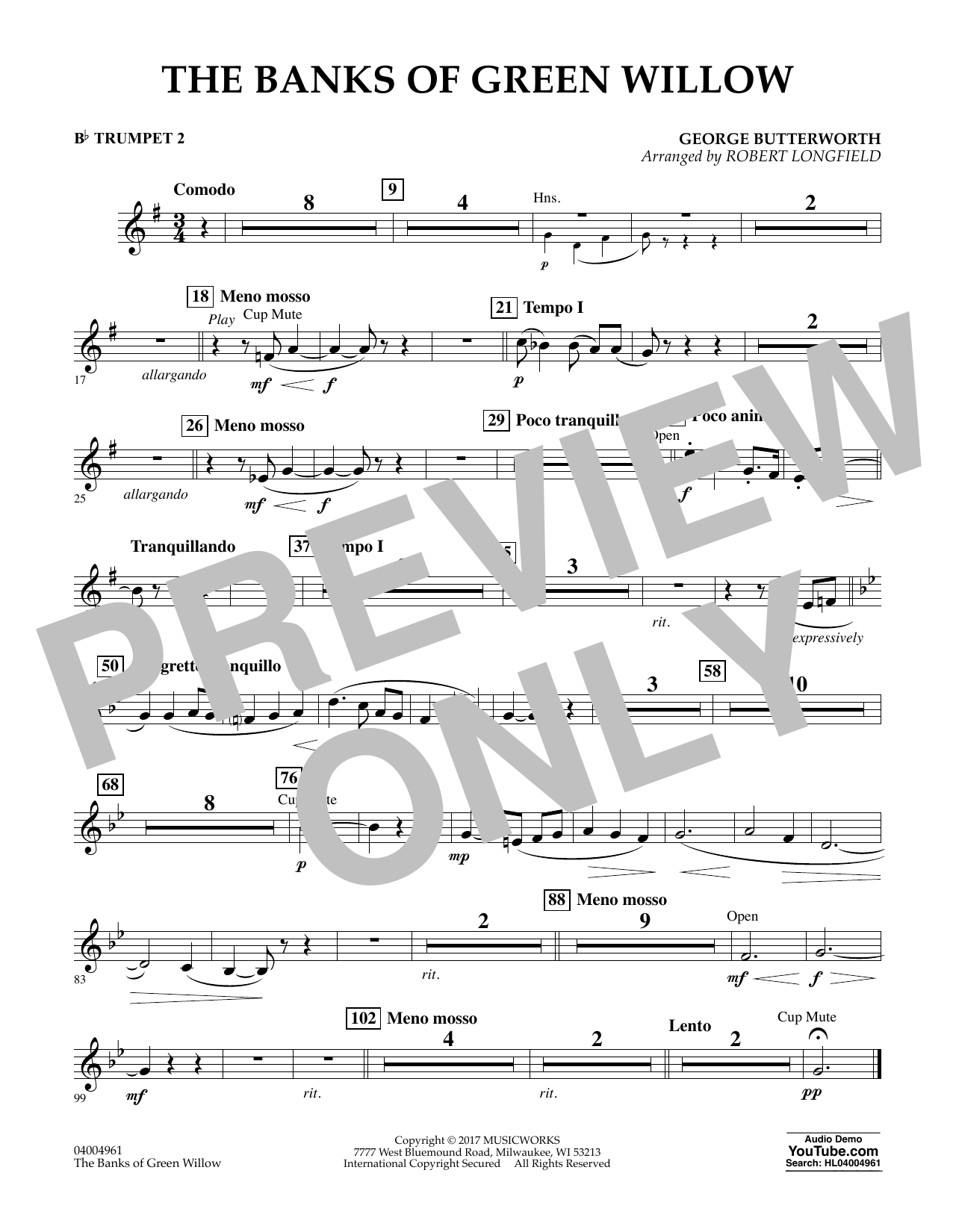 The Banks of Green Willow - Bb Trumpet 2 Sheet Music