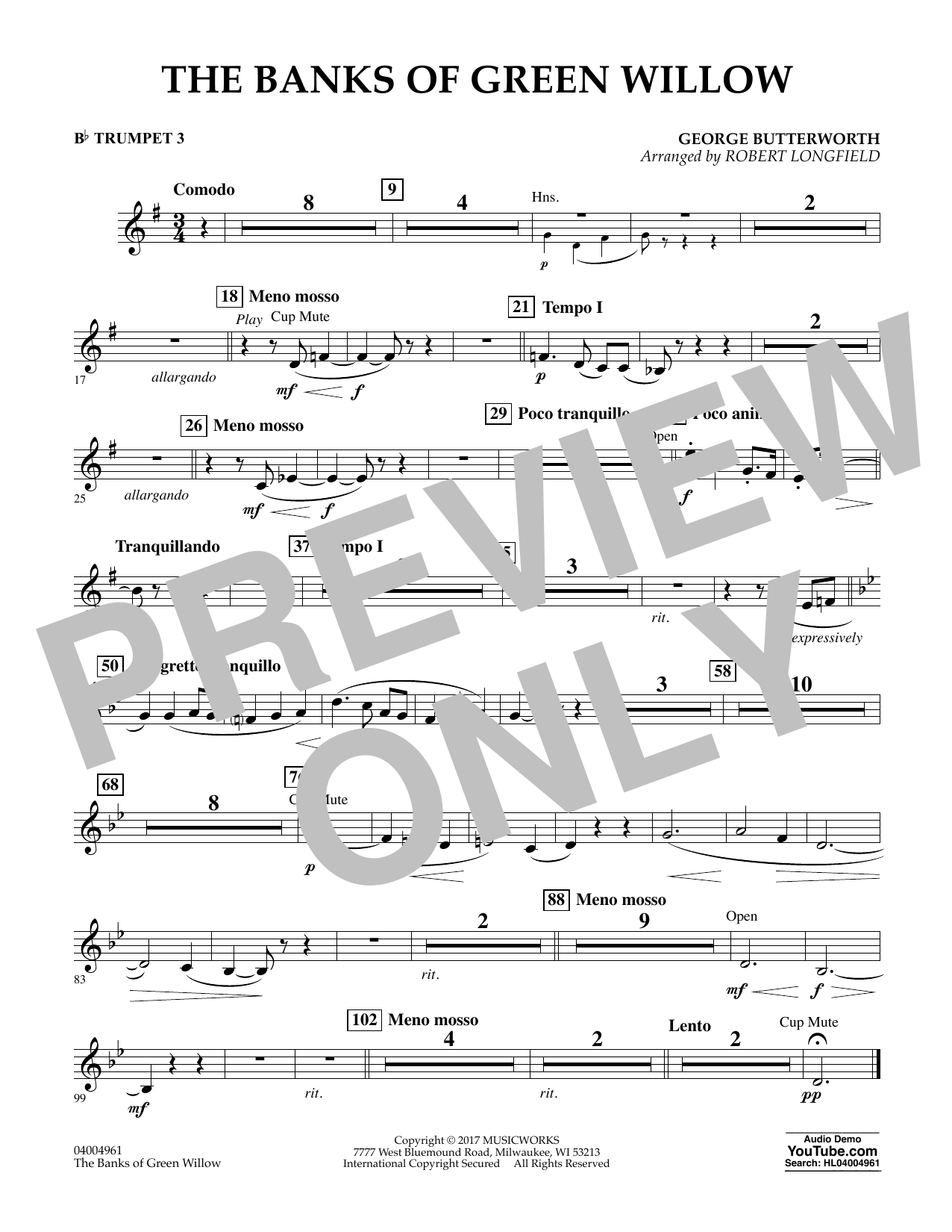 The Banks of Green Willow - Bb Trumpet 3 Sheet Music