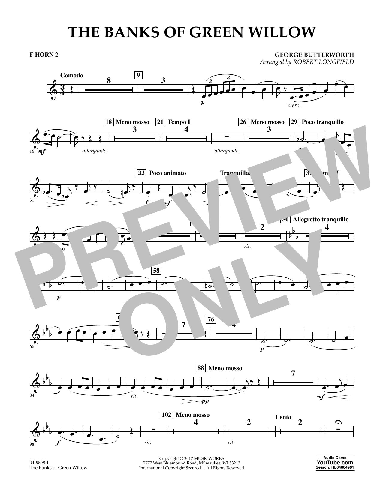 The Banks of Green Willow - F Horn 2 Sheet Music
