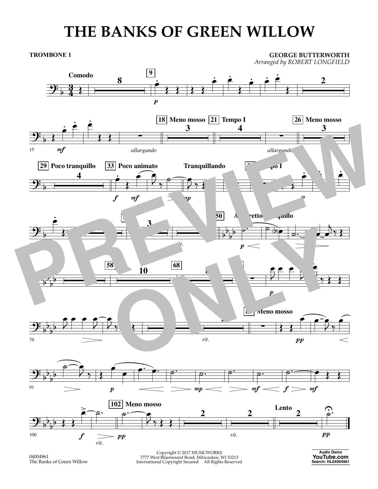 The Banks of Green Willow - Trombone 1 Sheet Music