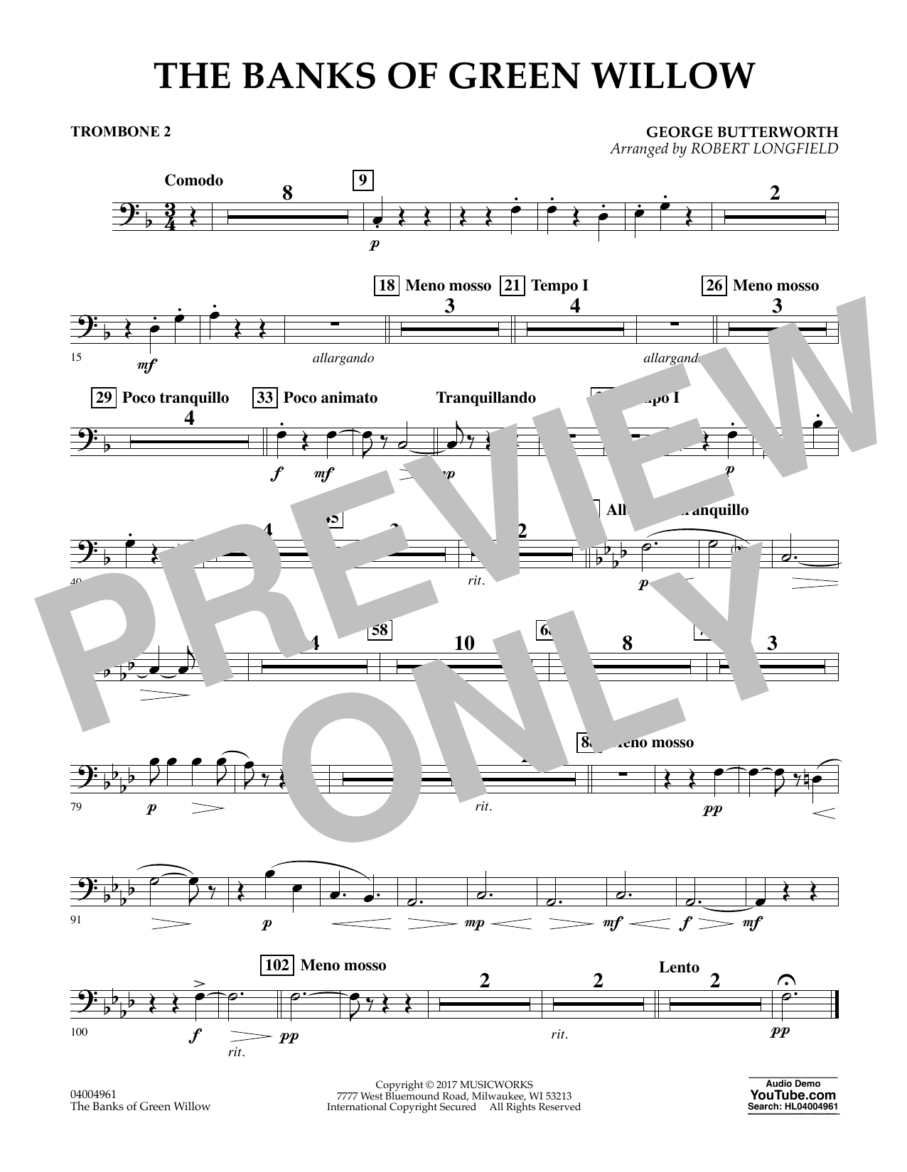 The Banks of Green Willow - Trombone 2 Sheet Music