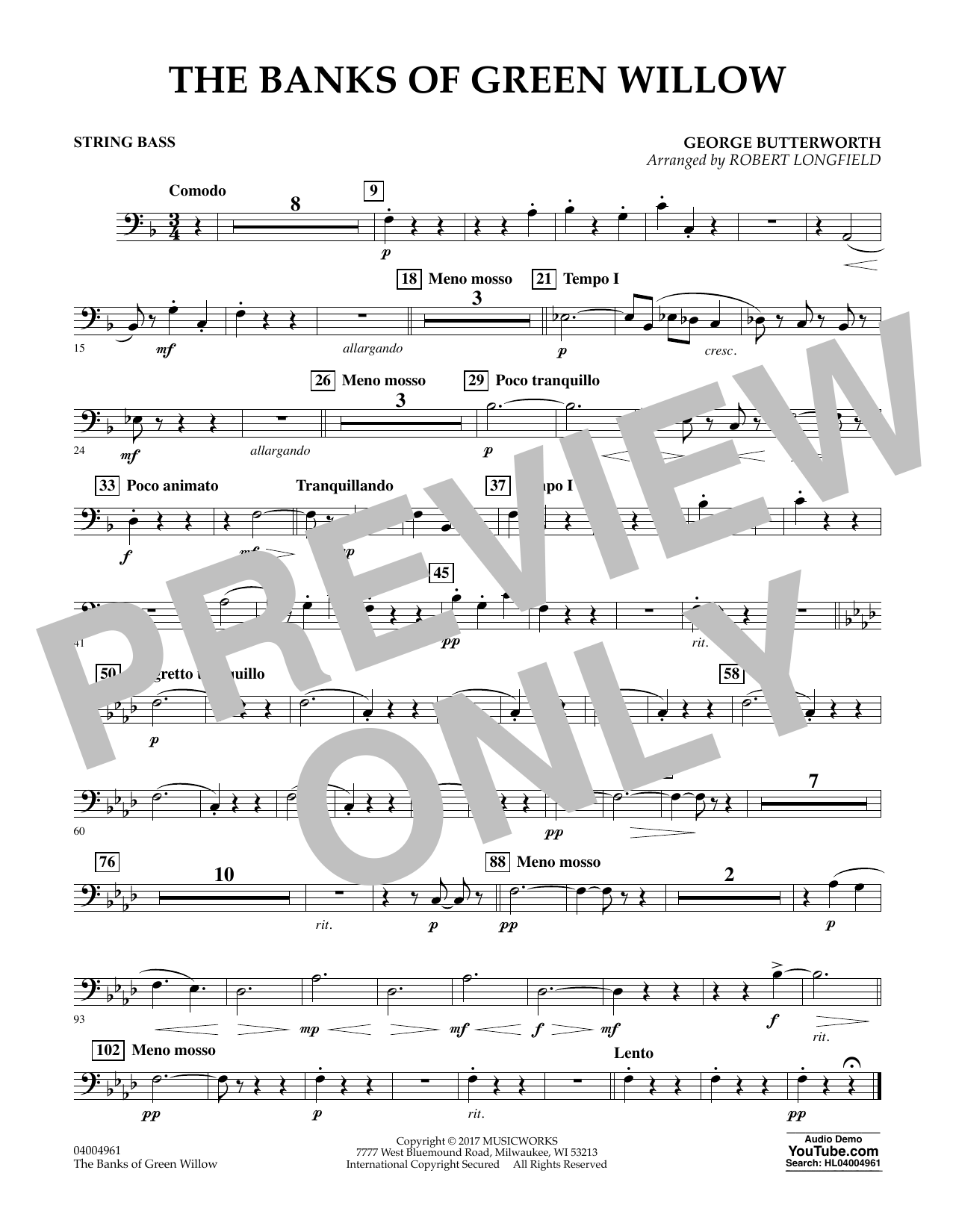 The Banks of Green Willow - String Bass Sheet Music