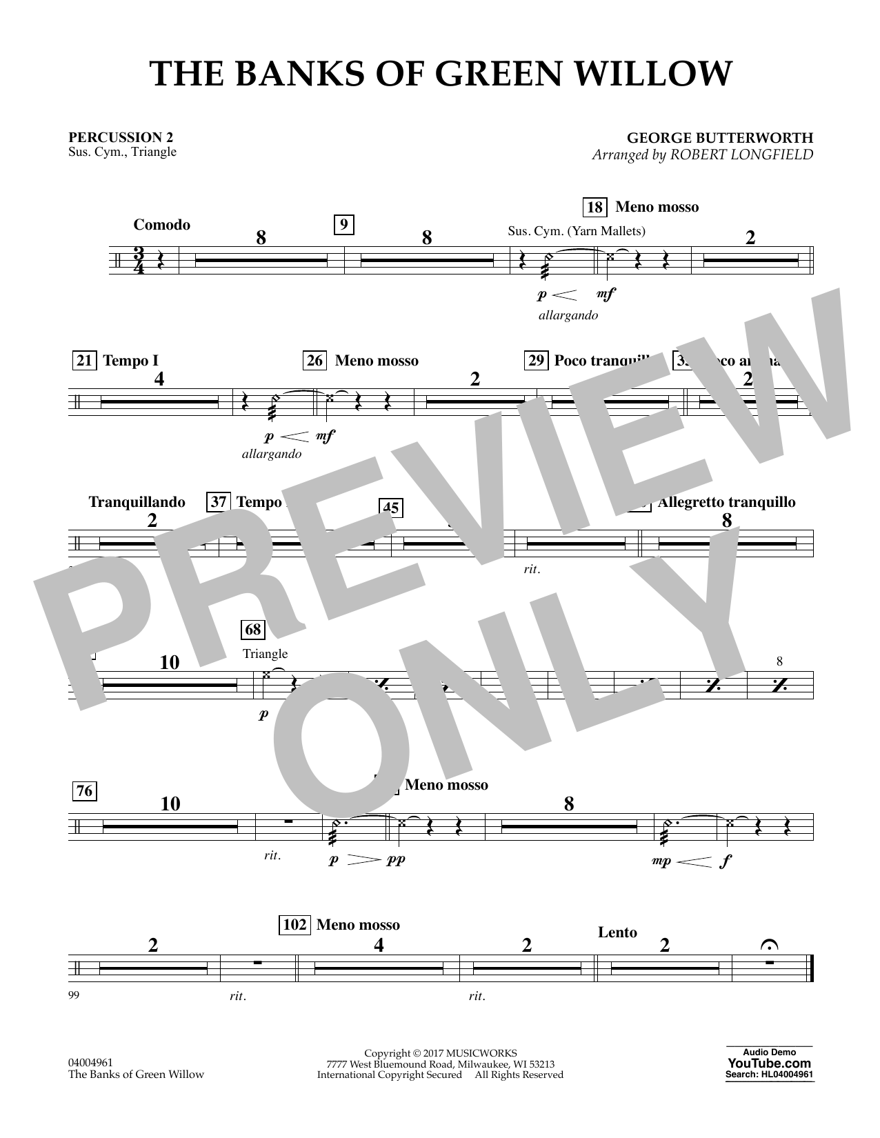 The Banks of Green Willow - Percussion 2 Sheet Music