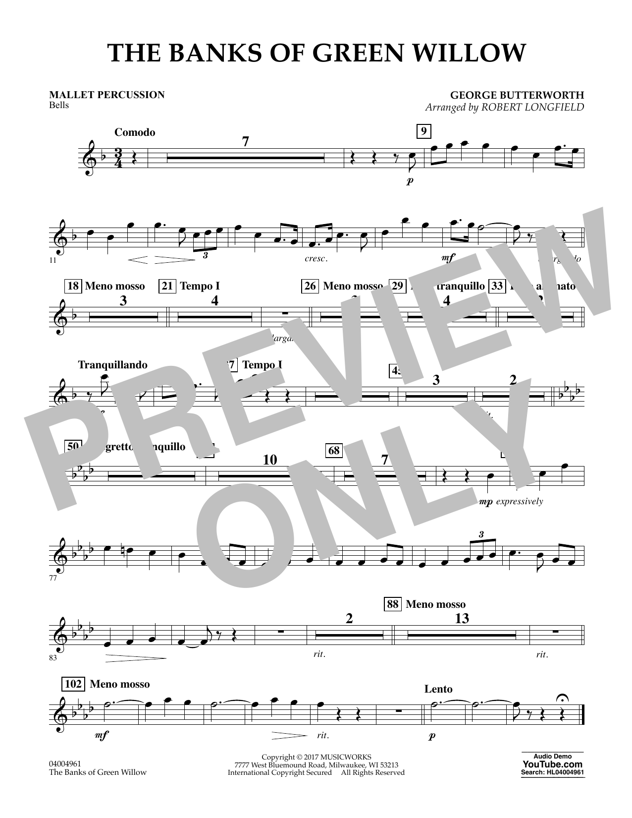 The Banks of Green Willow - Mallet Percussion Sheet Music