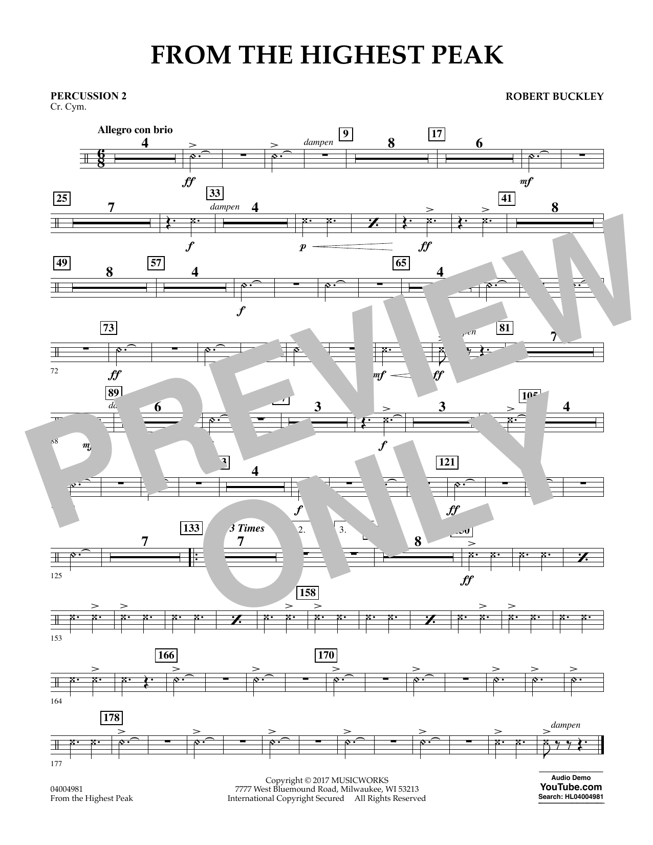 From the Highest Peak - Percussion 2 (Concert Band)