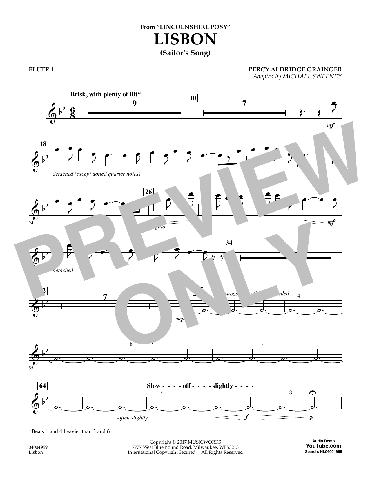 Lisbon (from Lincolnshire Posy) - Flute 1 Sheet Music