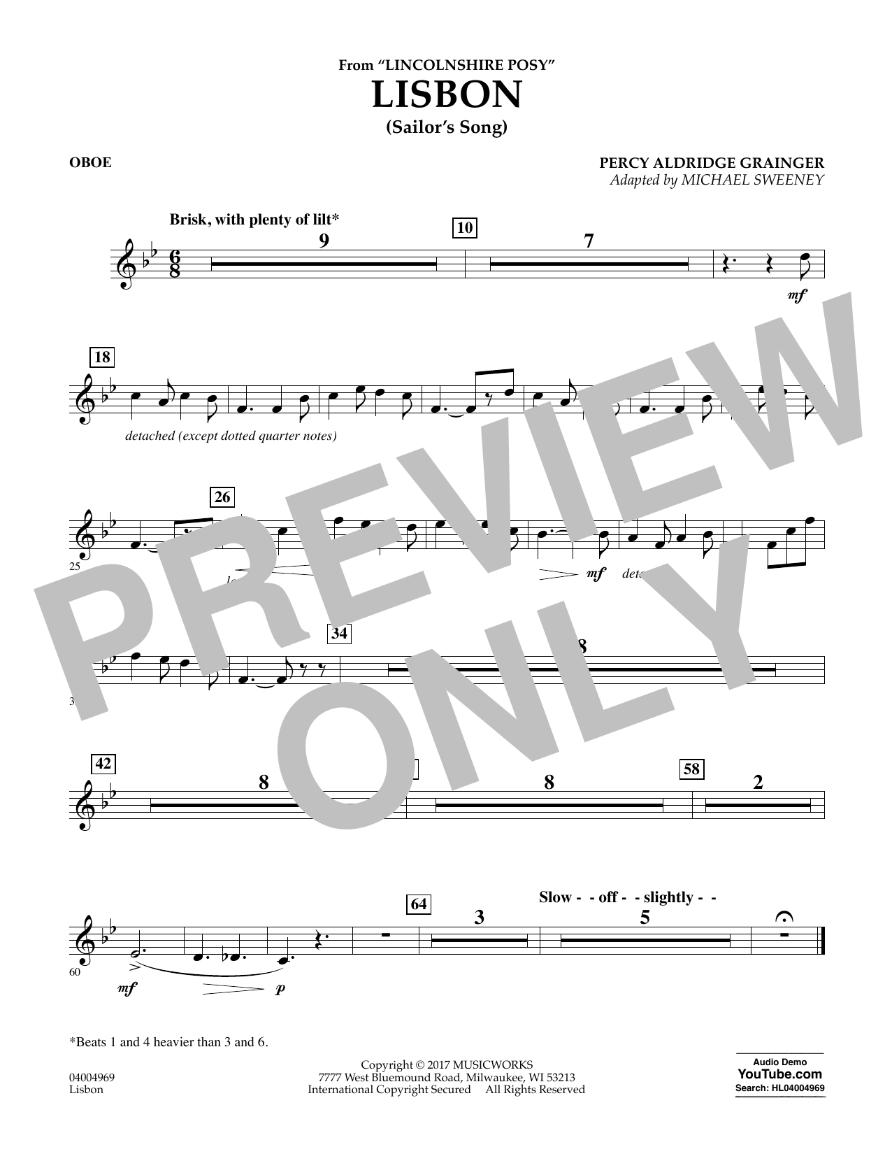 Lisbon (from Lincolnshire Posy) - Oboe Sheet Music