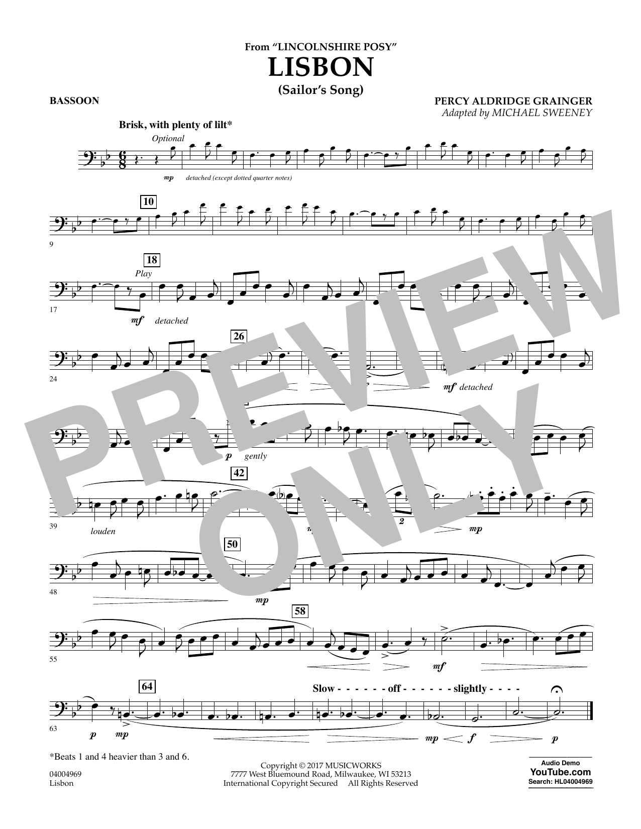 Lisbon (from Lincolnshire Posy) - Bassoon Sheet Music