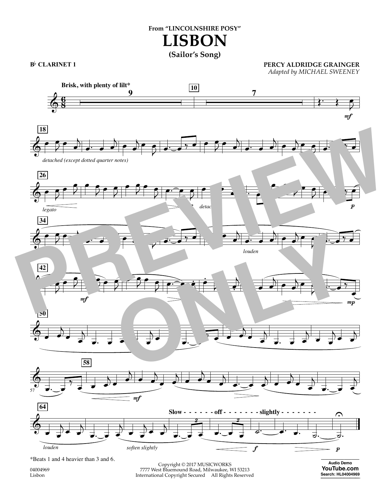 Lisbon (from Lincolnshire Posy) - Bb Clarinet 1 Sheet Music