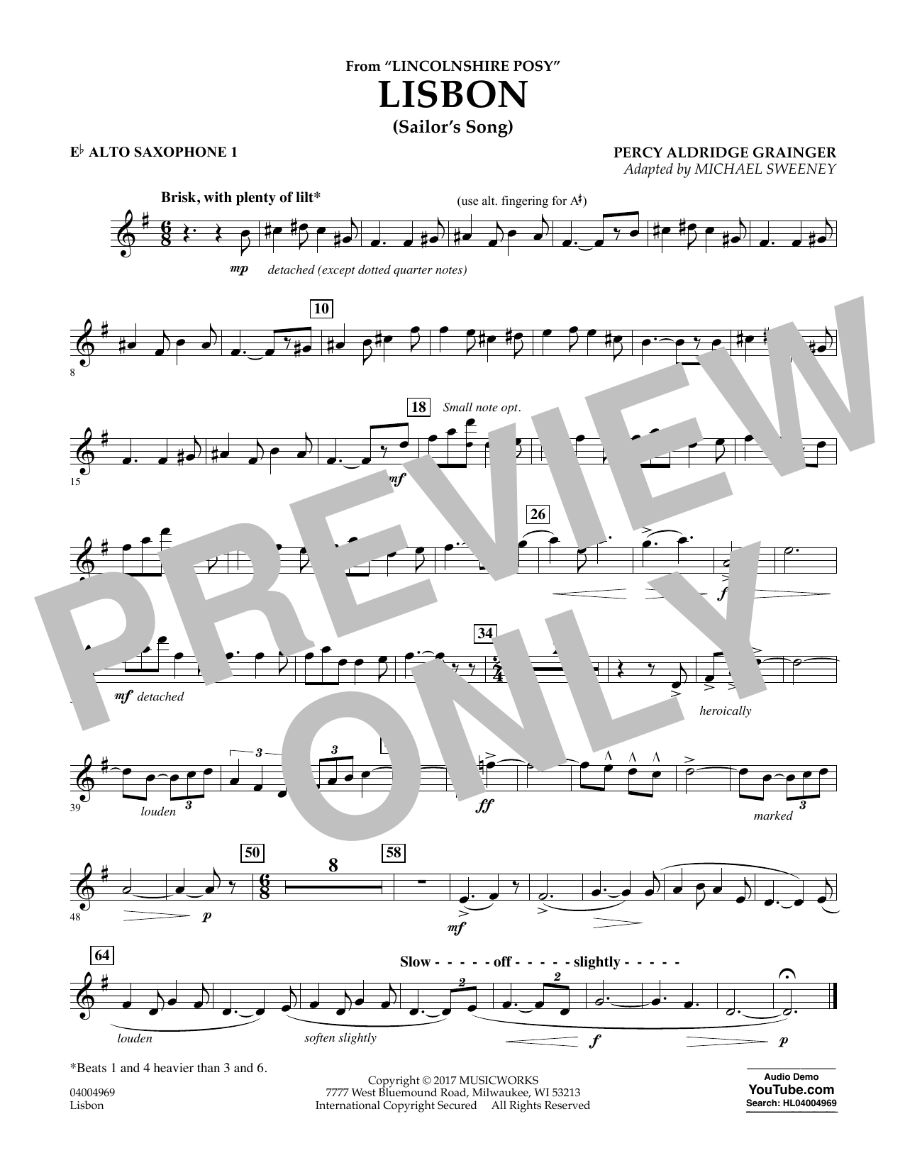 Lisbon (from Lincolnshire Posy) - Eb Alto Saxophone 1 (Concert Band)