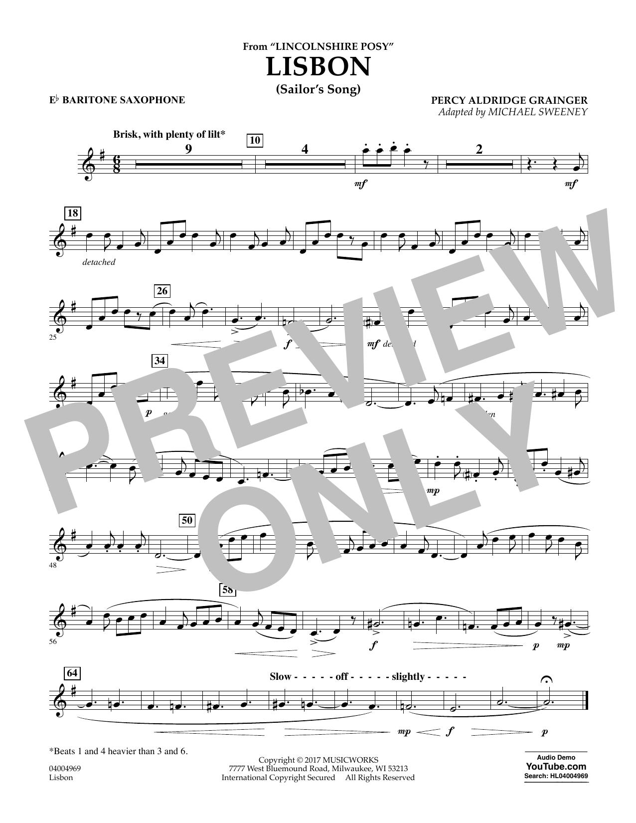 Lisbon (from Lincolnshire Posy) - Eb Baritone Saxophone Sheet Music