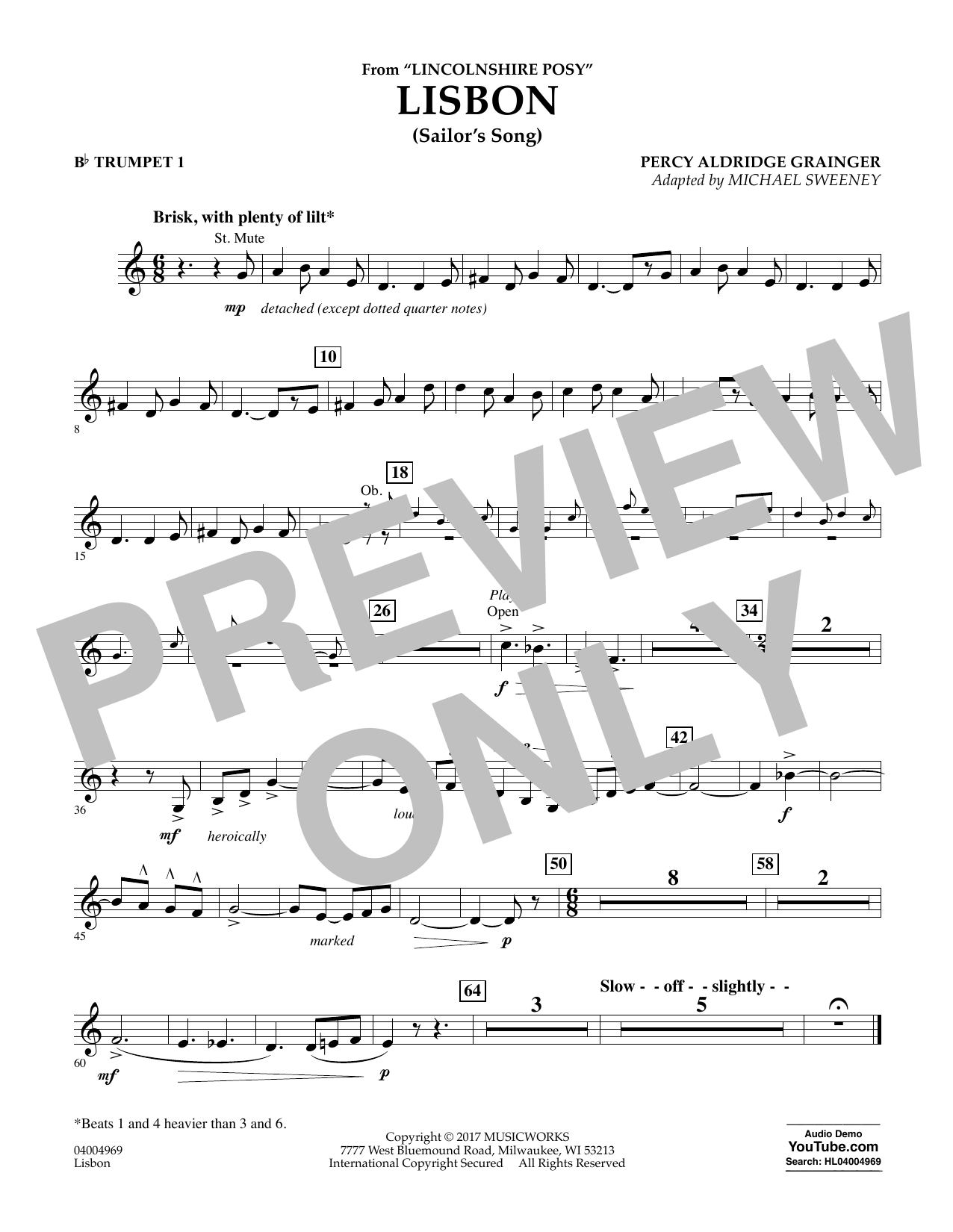 Lisbon (from Lincolnshire Posy) - Bb Trumpet 1 Sheet Music