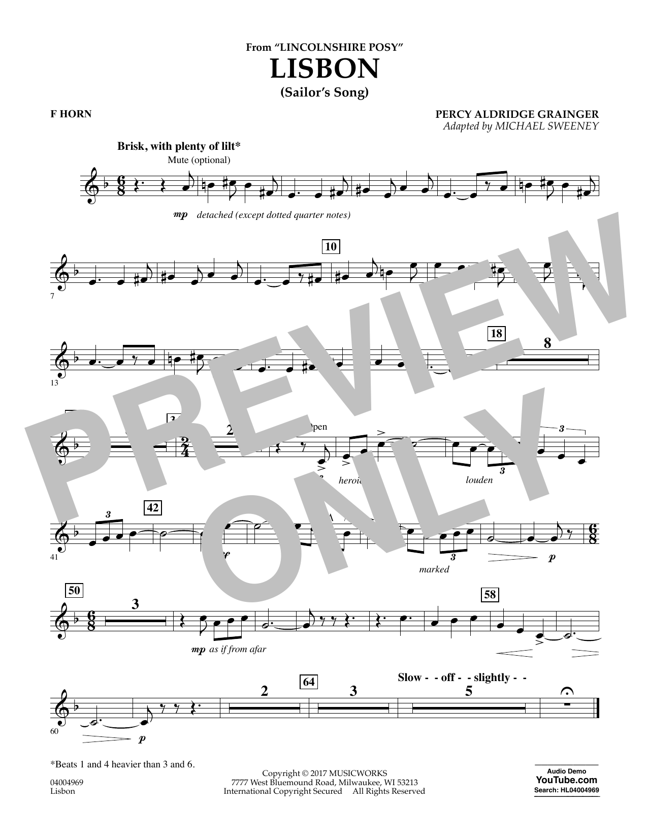 Lisbon (from Lincolnshire Posy) - F Horn Sheet Music