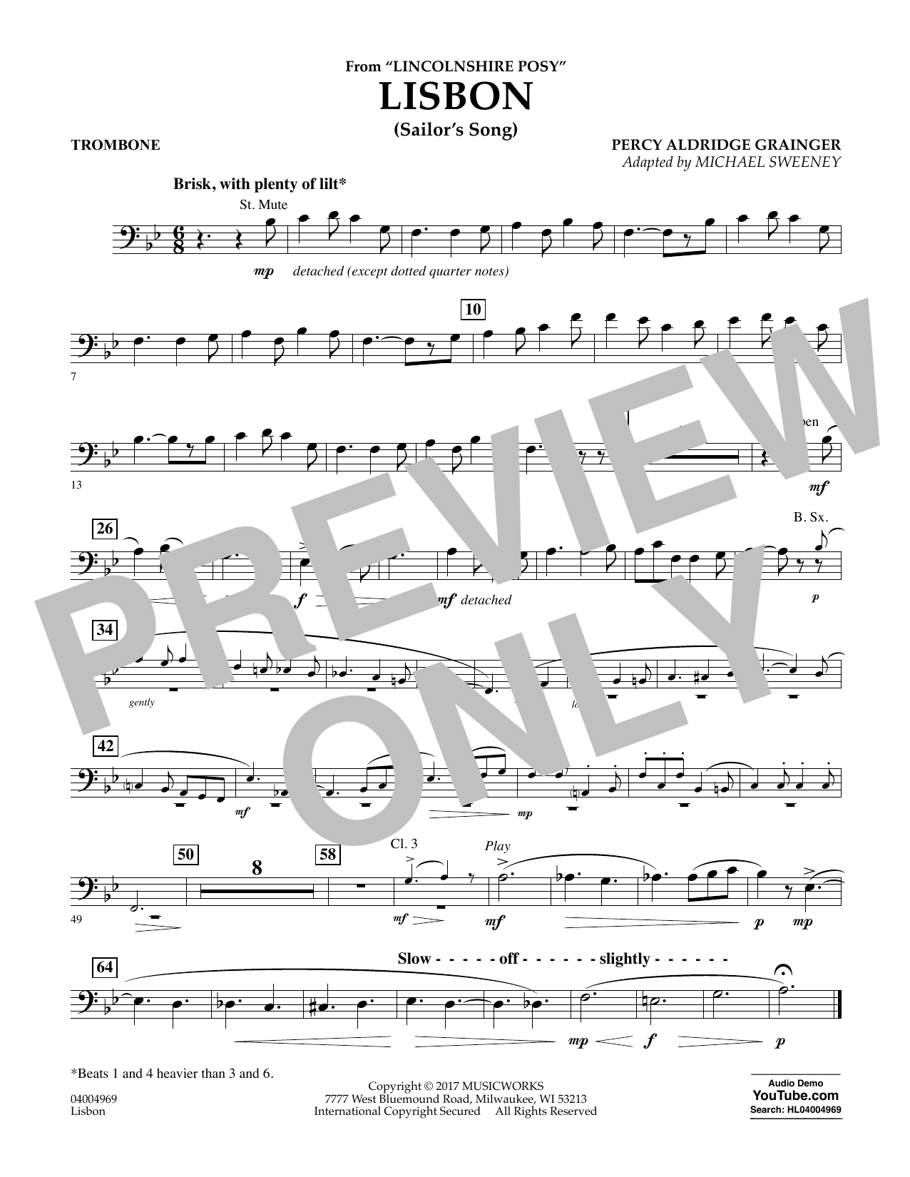 Lisbon (from Lincolnshire Posy) - Trombone Sheet Music