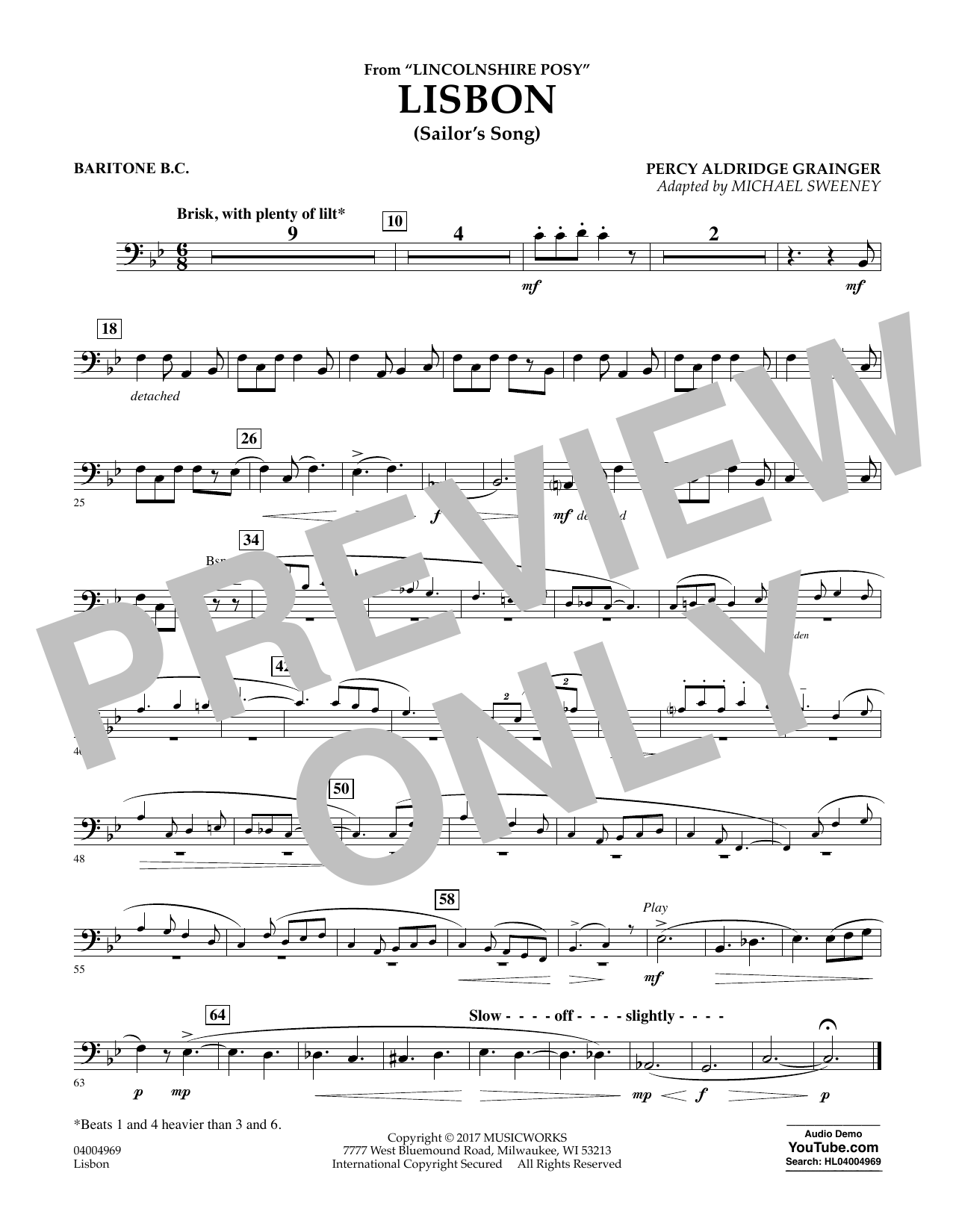 Lisbon (from Lincolnshire Posy) - Baritone B.C. Partition Digitale