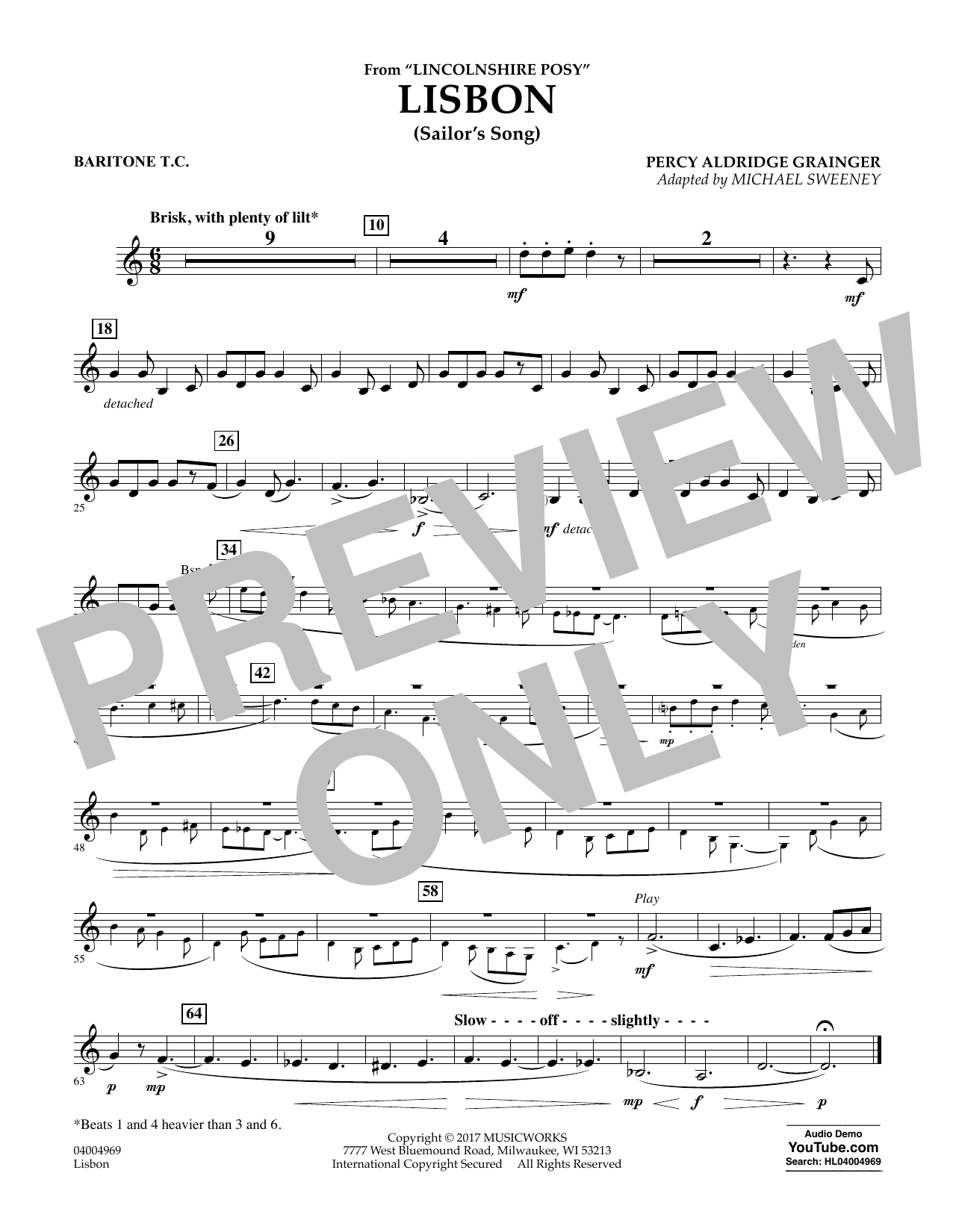 Lisbon (from Lincolnshire Posy) - Baritone T.C. (Concert Band)