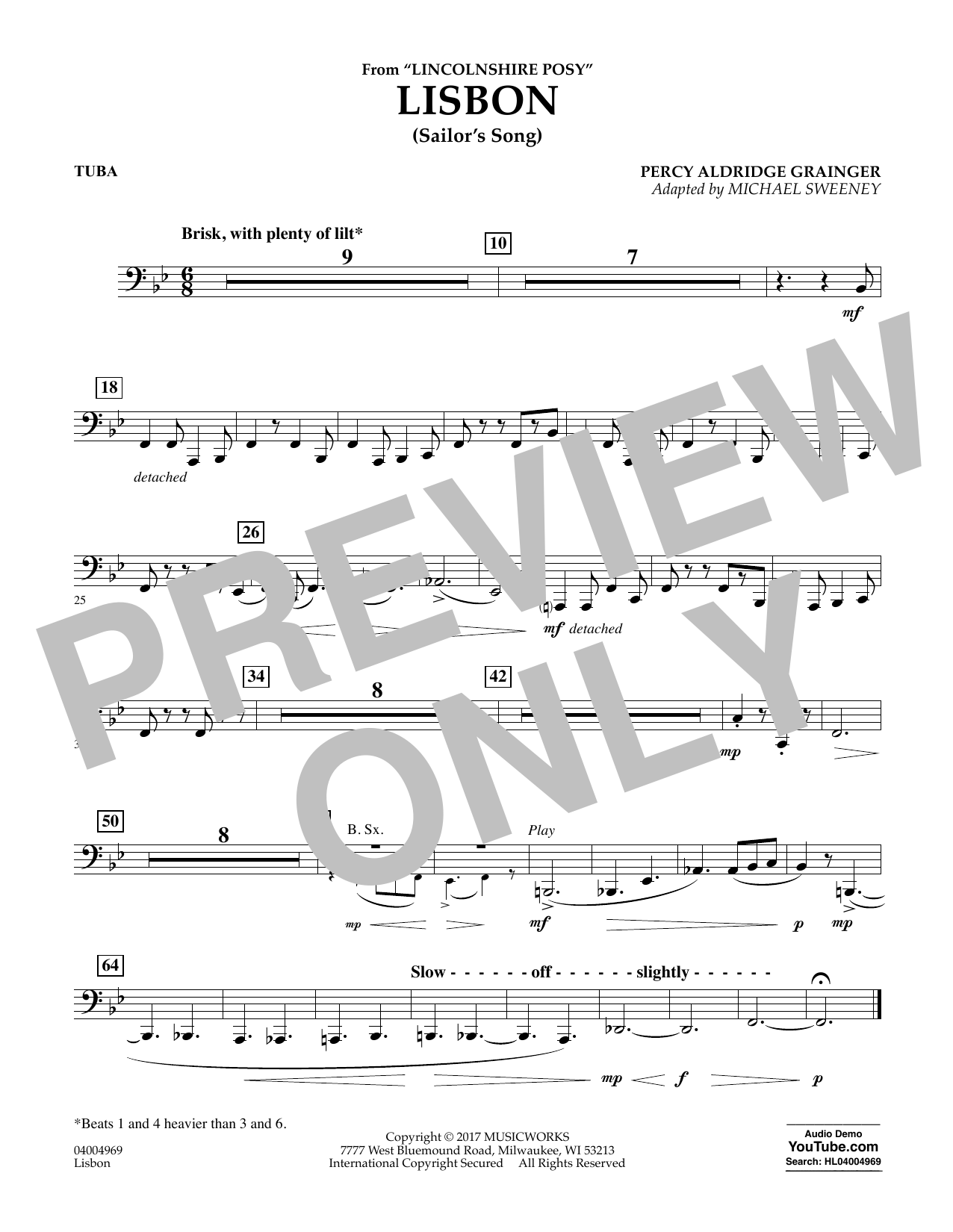 Lisbon (from Lincolnshire Posy) - Tuba Sheet Music
