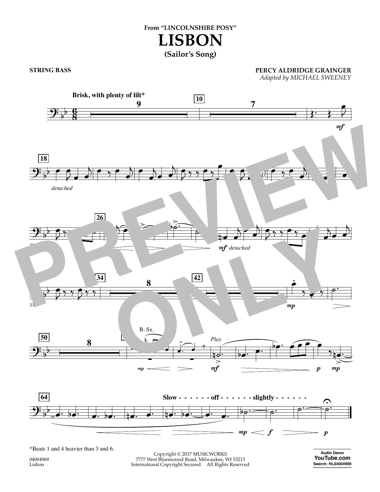 Lisbon (from Lincolnshire Posy) - String Bass Sheet Music