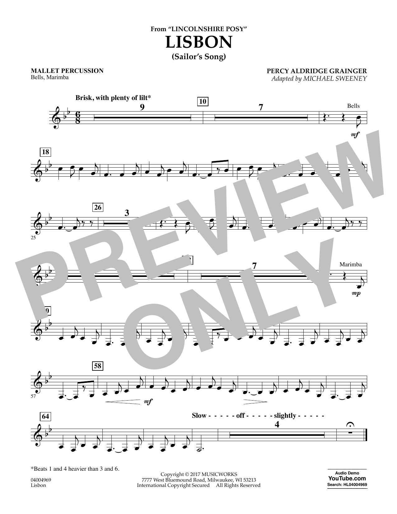 Lisbon (from Lincolnshire Posy) - Mallet Percussion Sheet Music