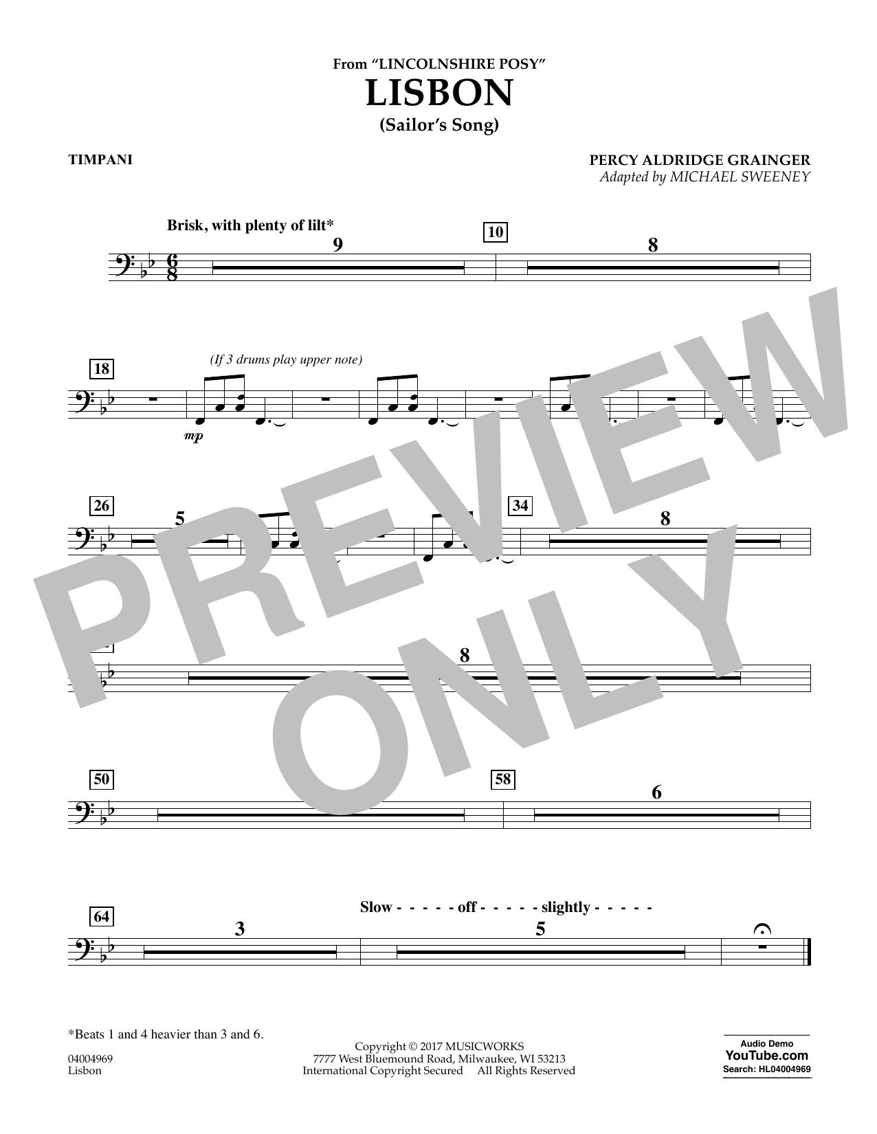 Lisbon (from Lincolnshire Posy) - Timpani Sheet Music