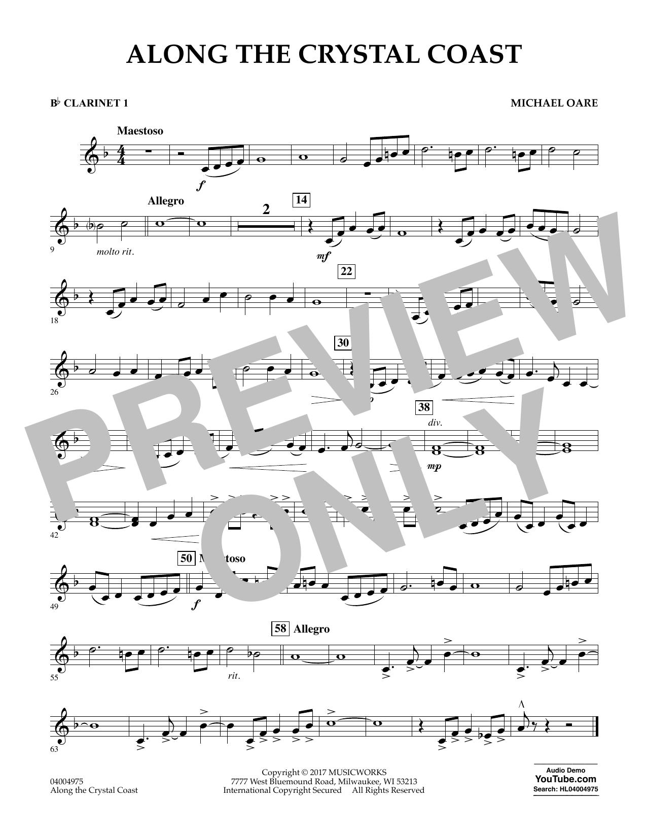 Along the Crystal Coast - Bb Clarinet 1 Sheet Music