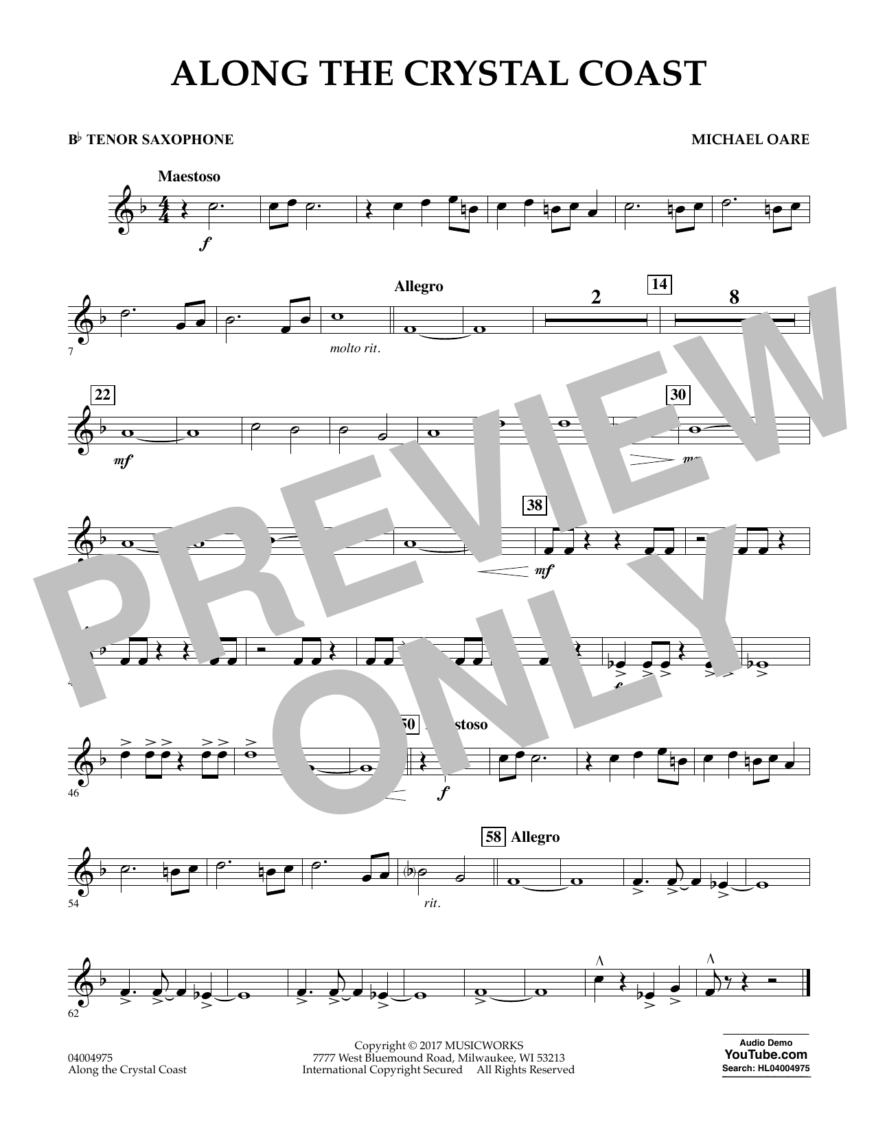 Along the Crystal Coast - Bb Tenor Saxophone Sheet Music