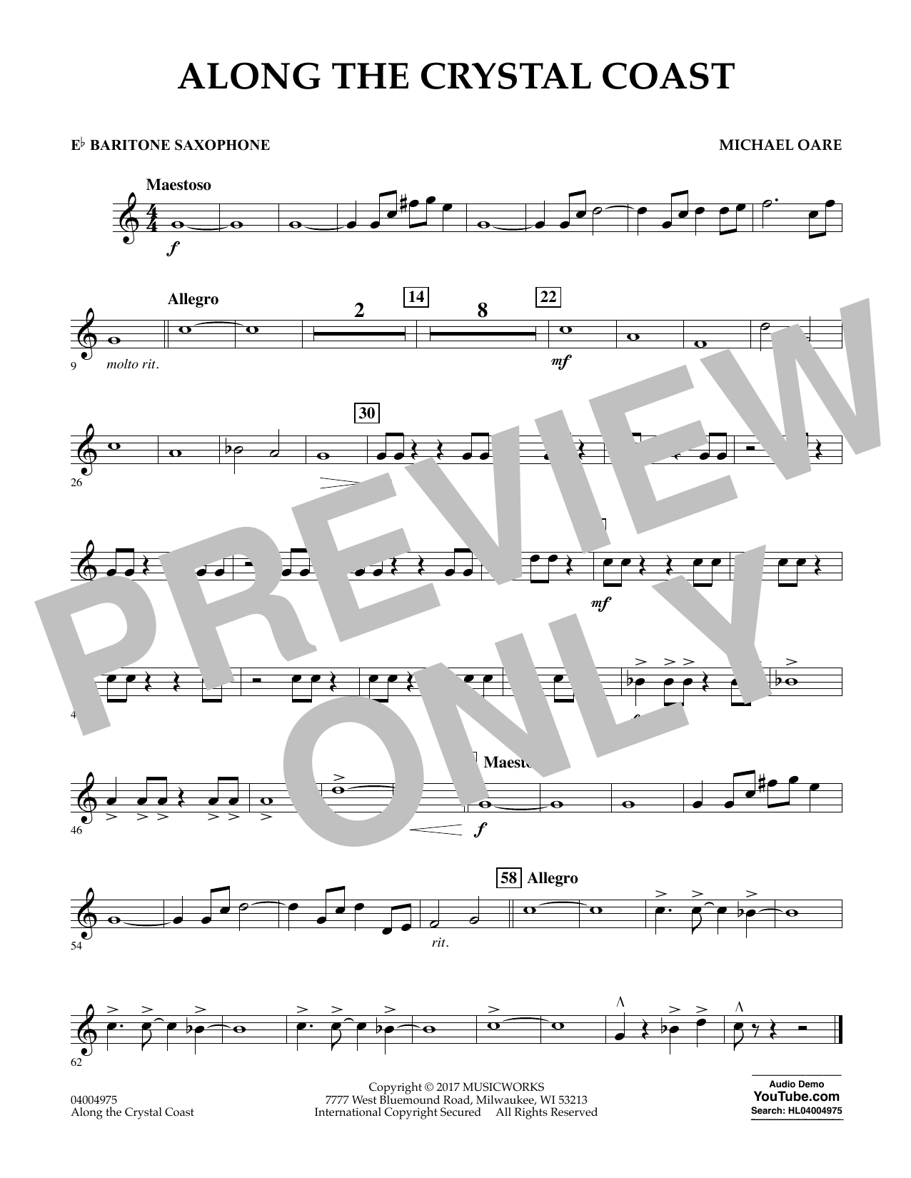 Along the Crystal Coast - Eb Baritone Saxophone Sheet Music