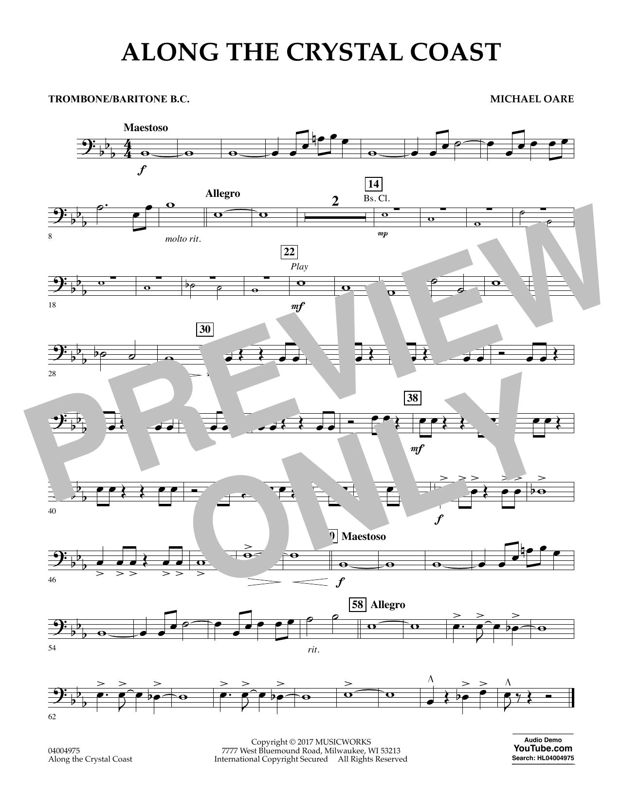 Along the Crystal Coast - Trombone/Baritone B.C. Sheet Music