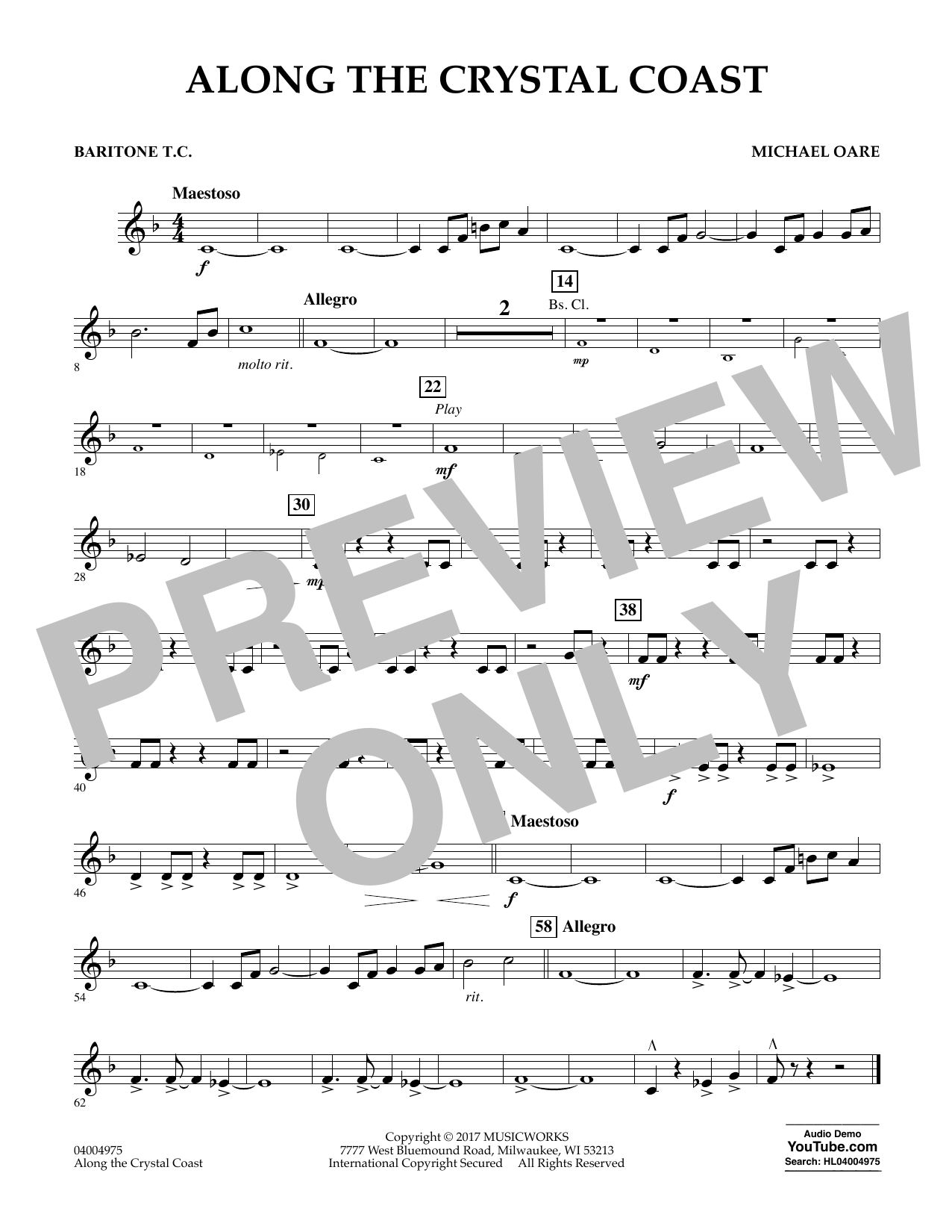 Along the Crystal Coast - Baritone T.C. Sheet Music