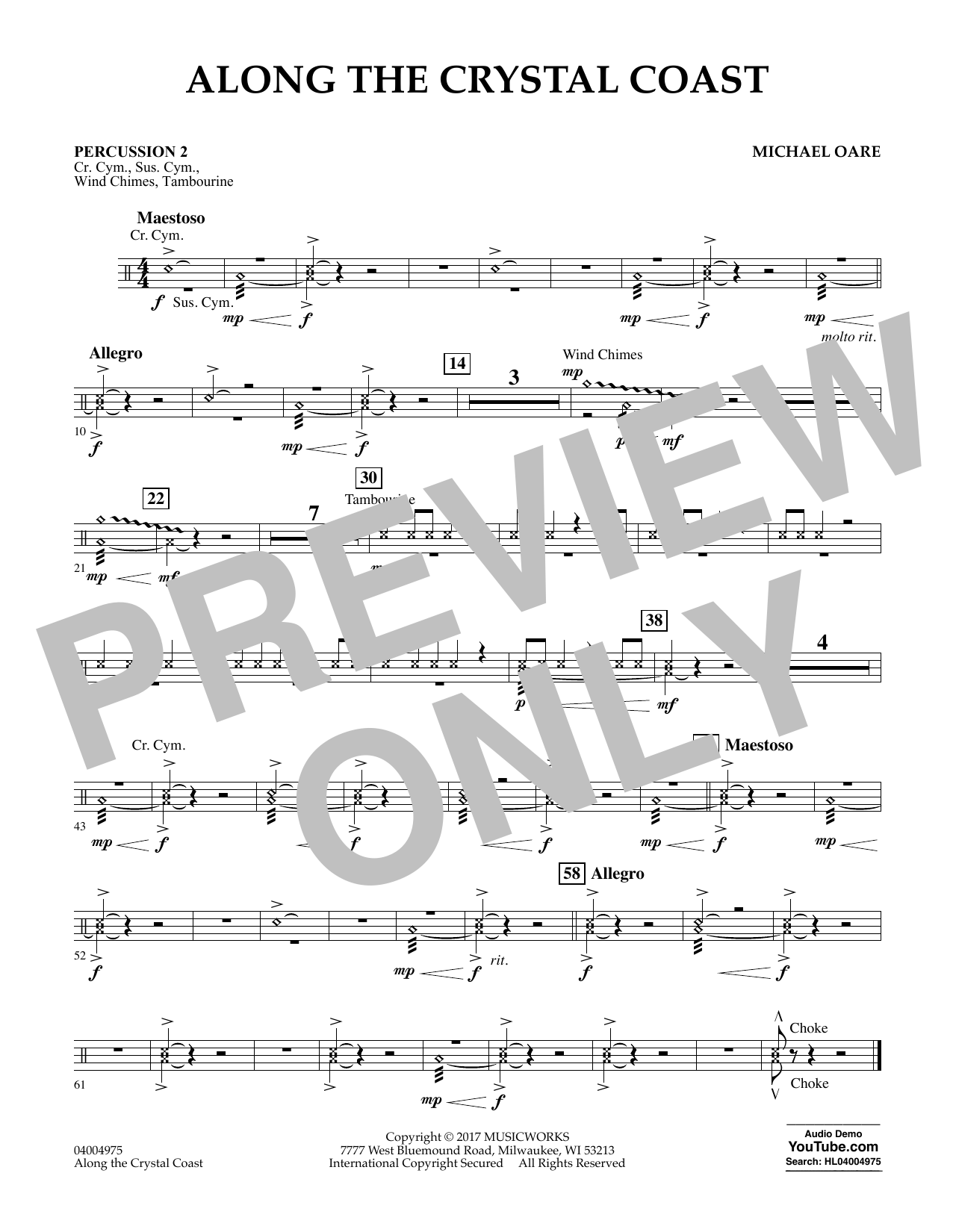 Along the Crystal Coast - Percussion 2 Sheet Music