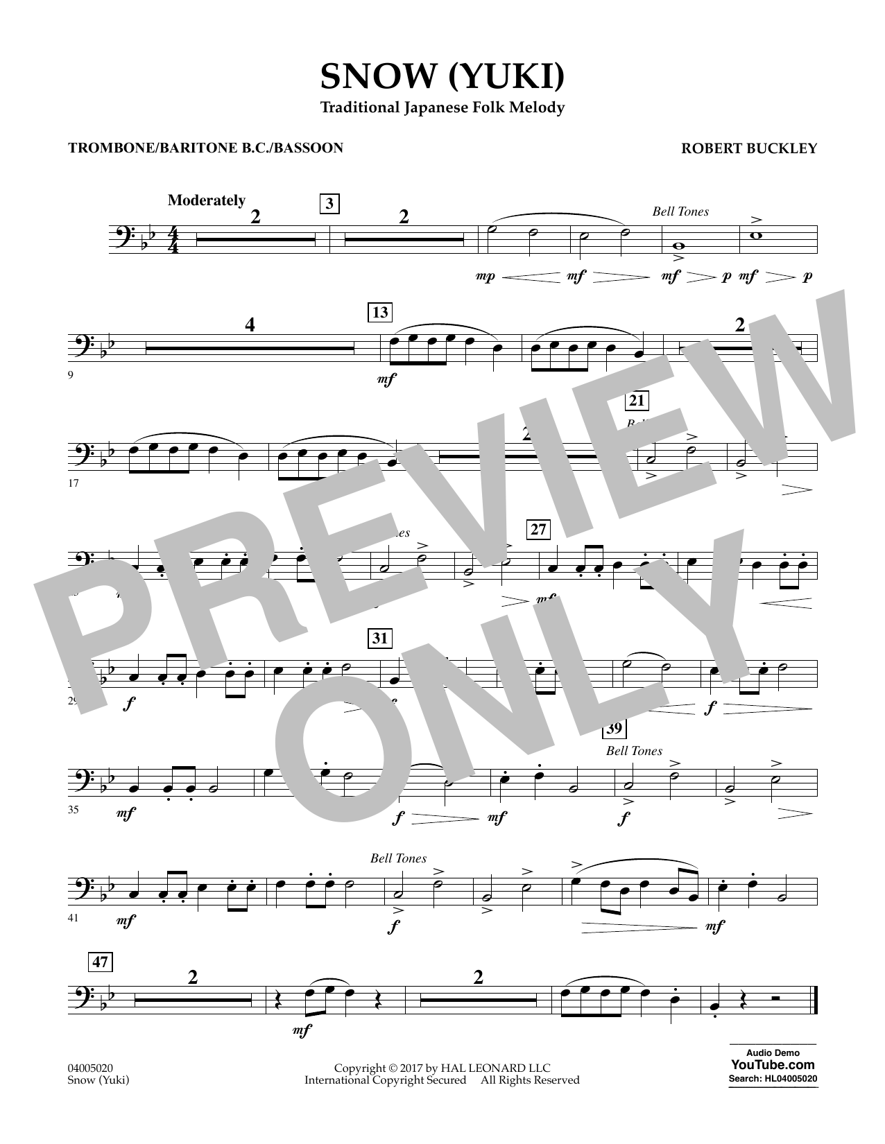 Snow (Yuki) - Trombone/Baritone B.C./Bassoon Partition Digitale