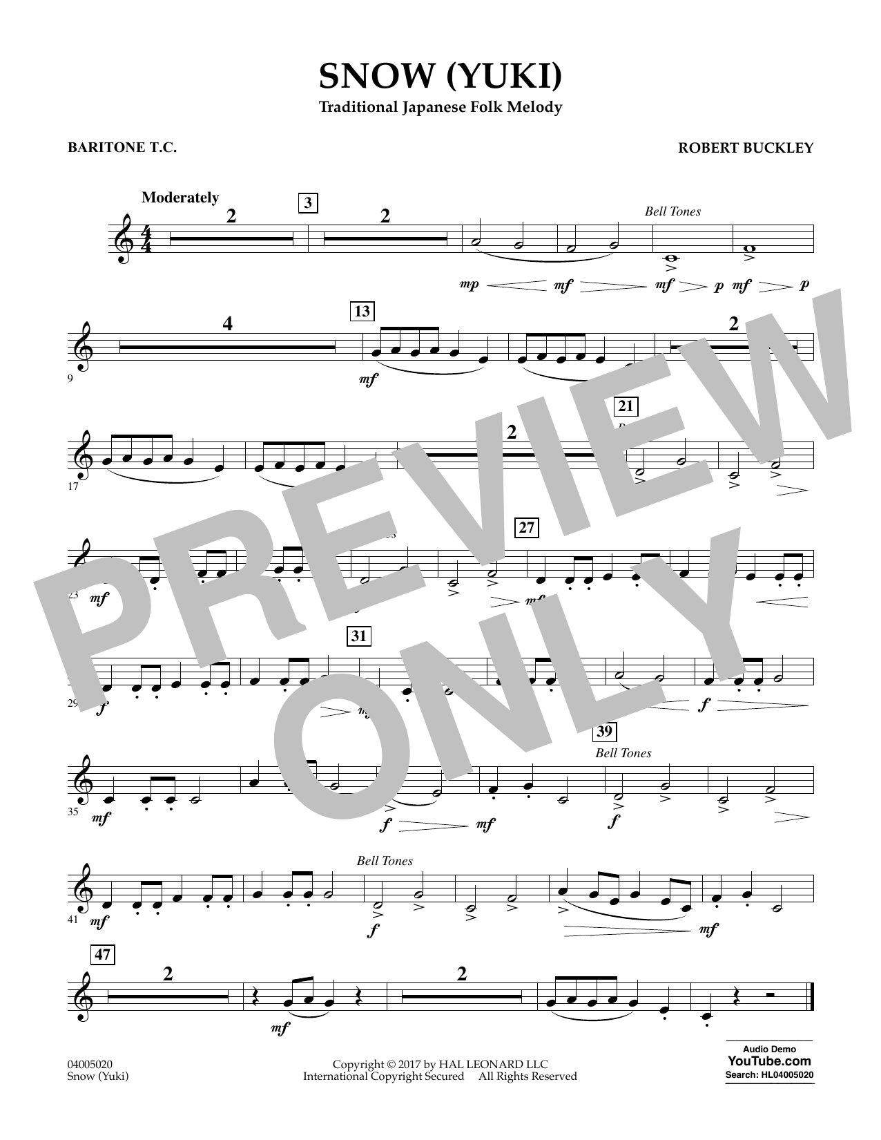 Snow (Yuki) - Baritone T.C. Sheet Music