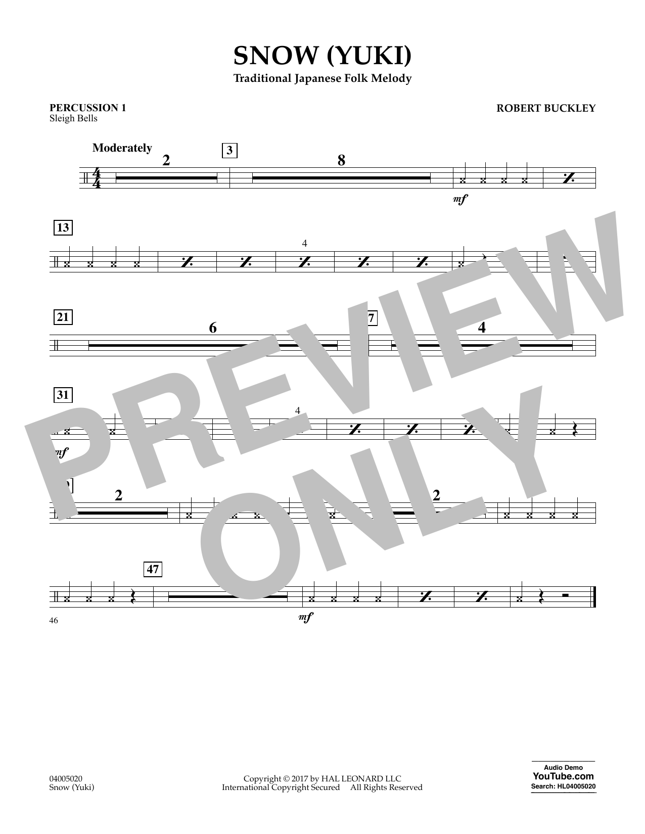 Snow (Yuki) - Percussion 1 Sheet Music