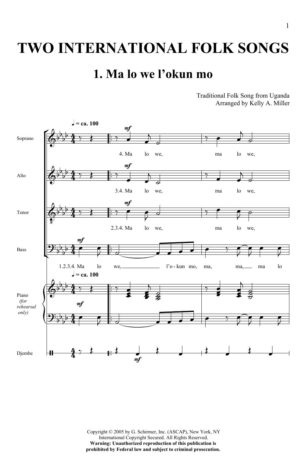Two International Folk Songs Sheet Music